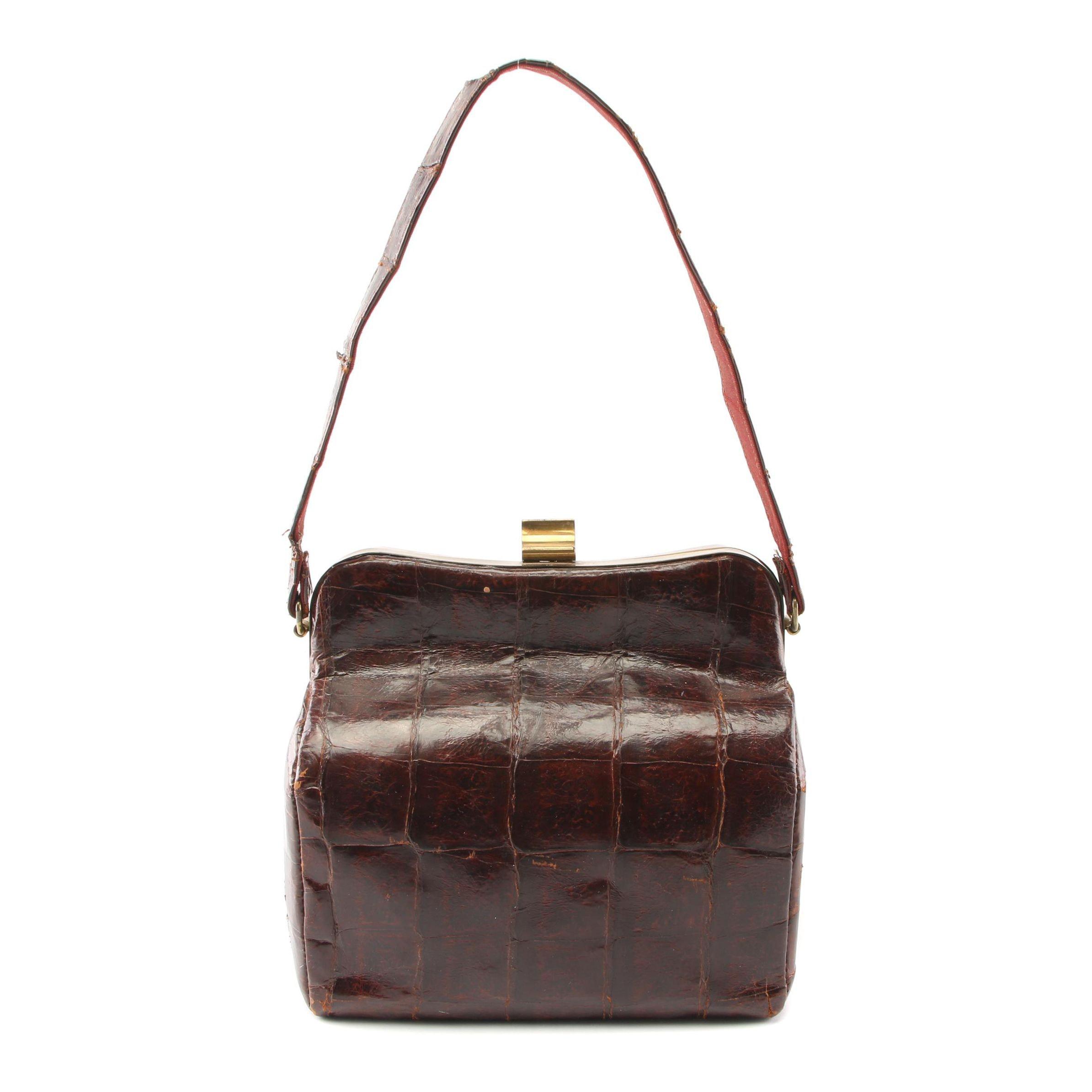 Alligator Leather Frame Bag, 1940s Vintage