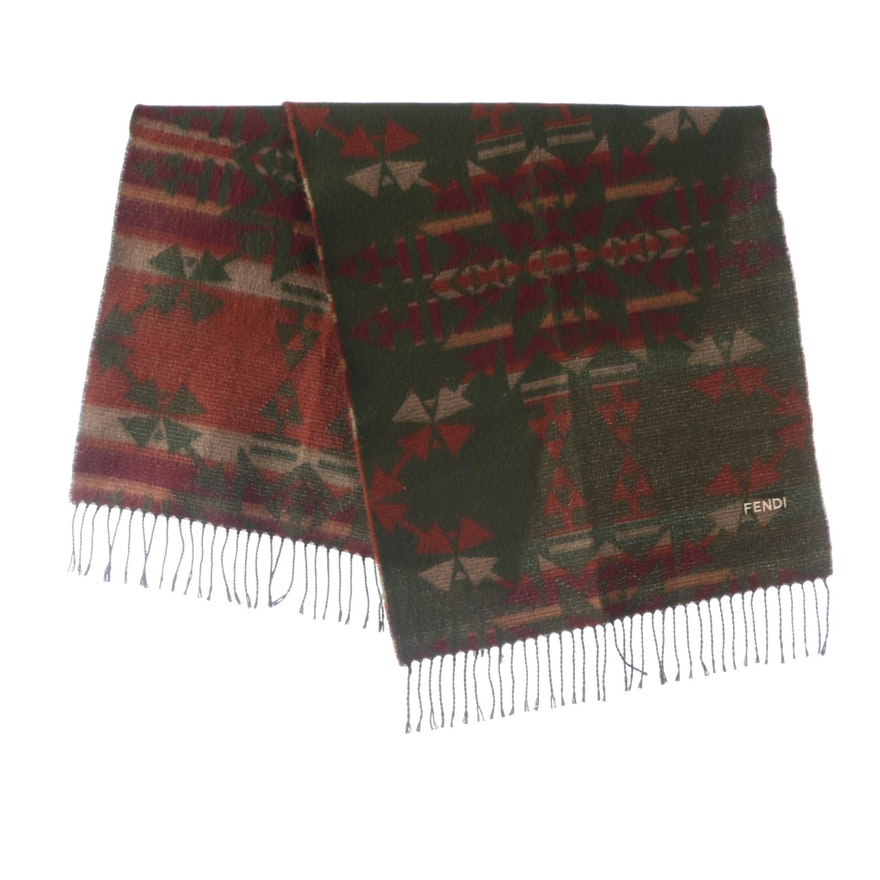 Fendi Southwest Aztec Print Wrap, Vintage