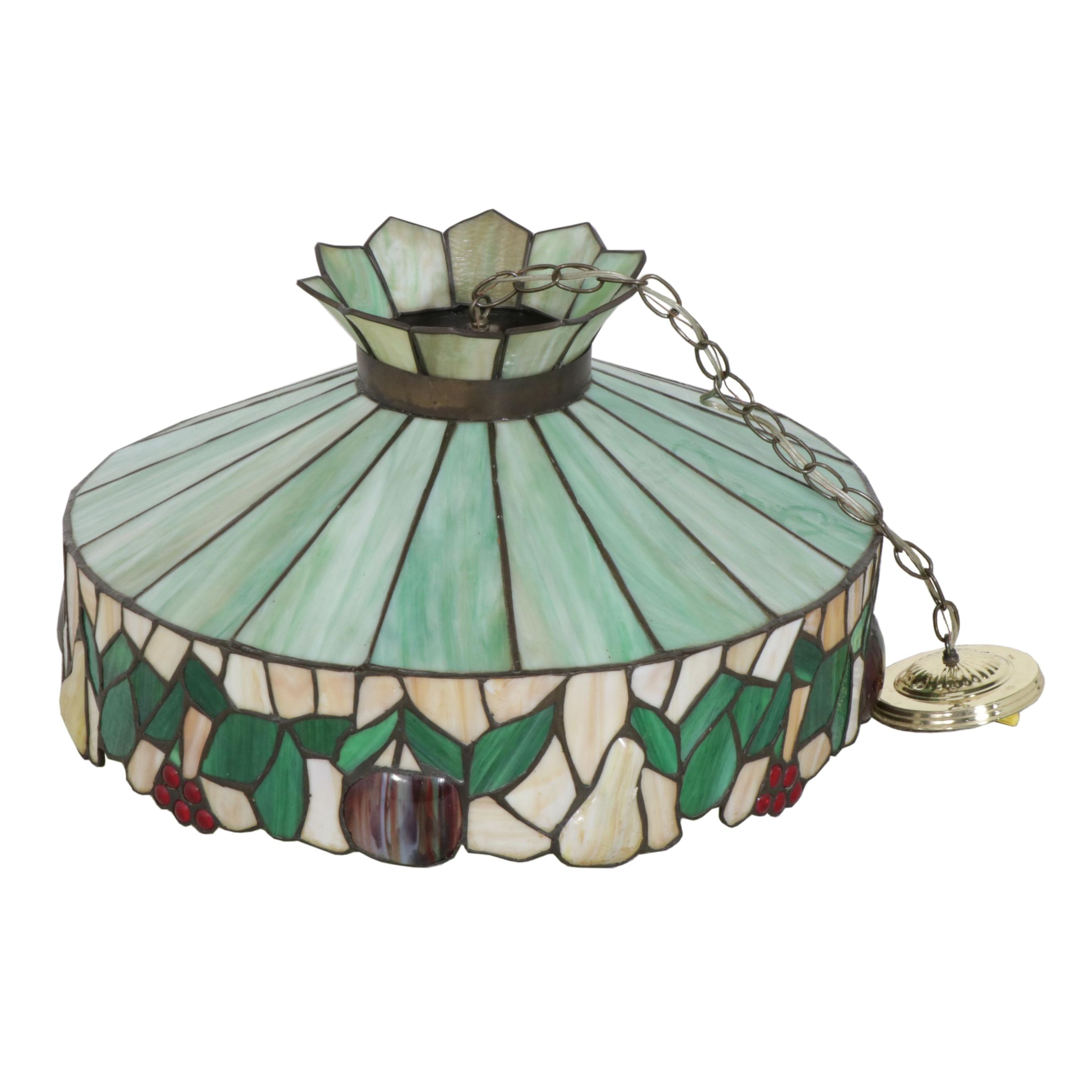 Slag Glass Pendant Light, Late 20th Century