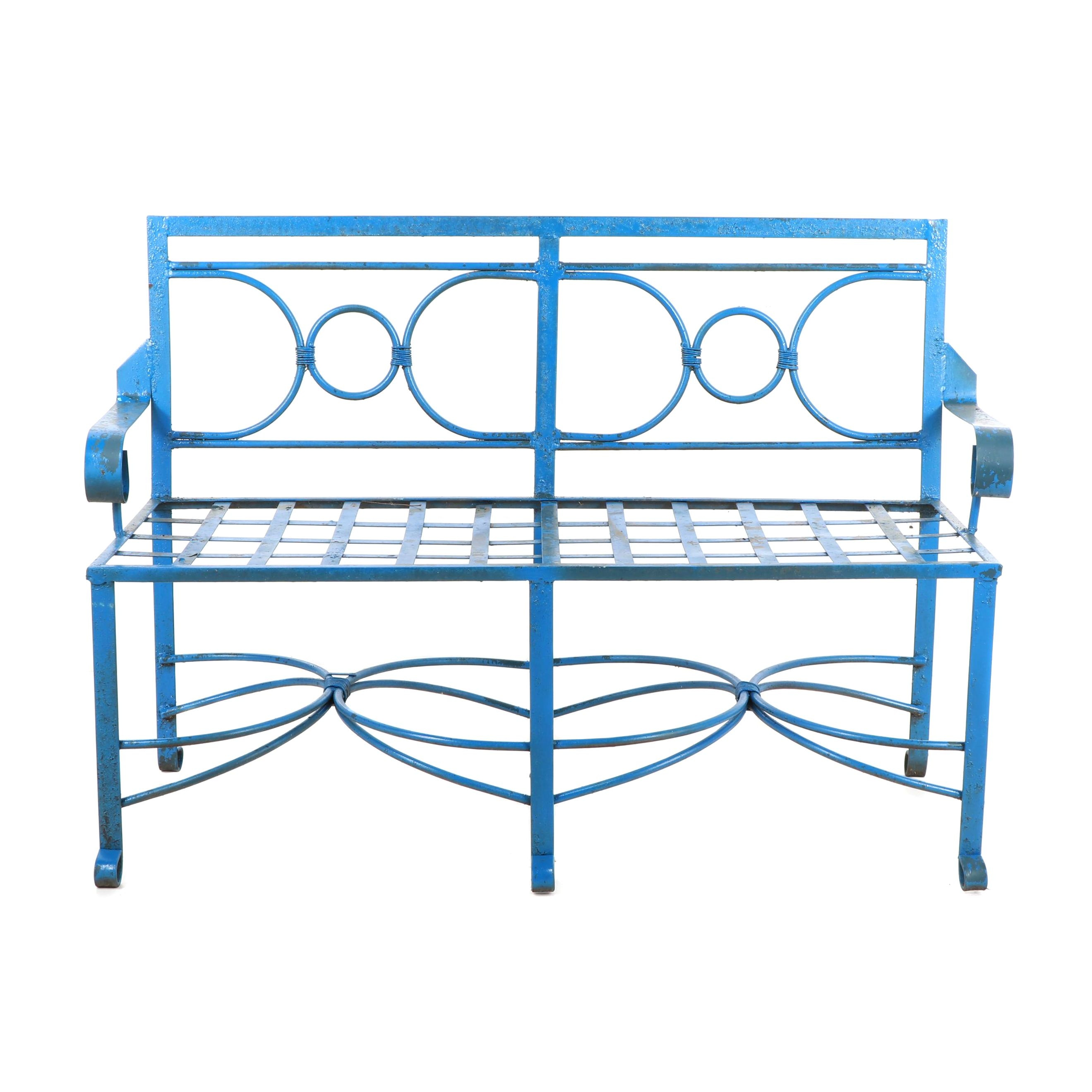 Blue Painted Metal Patio Bench
