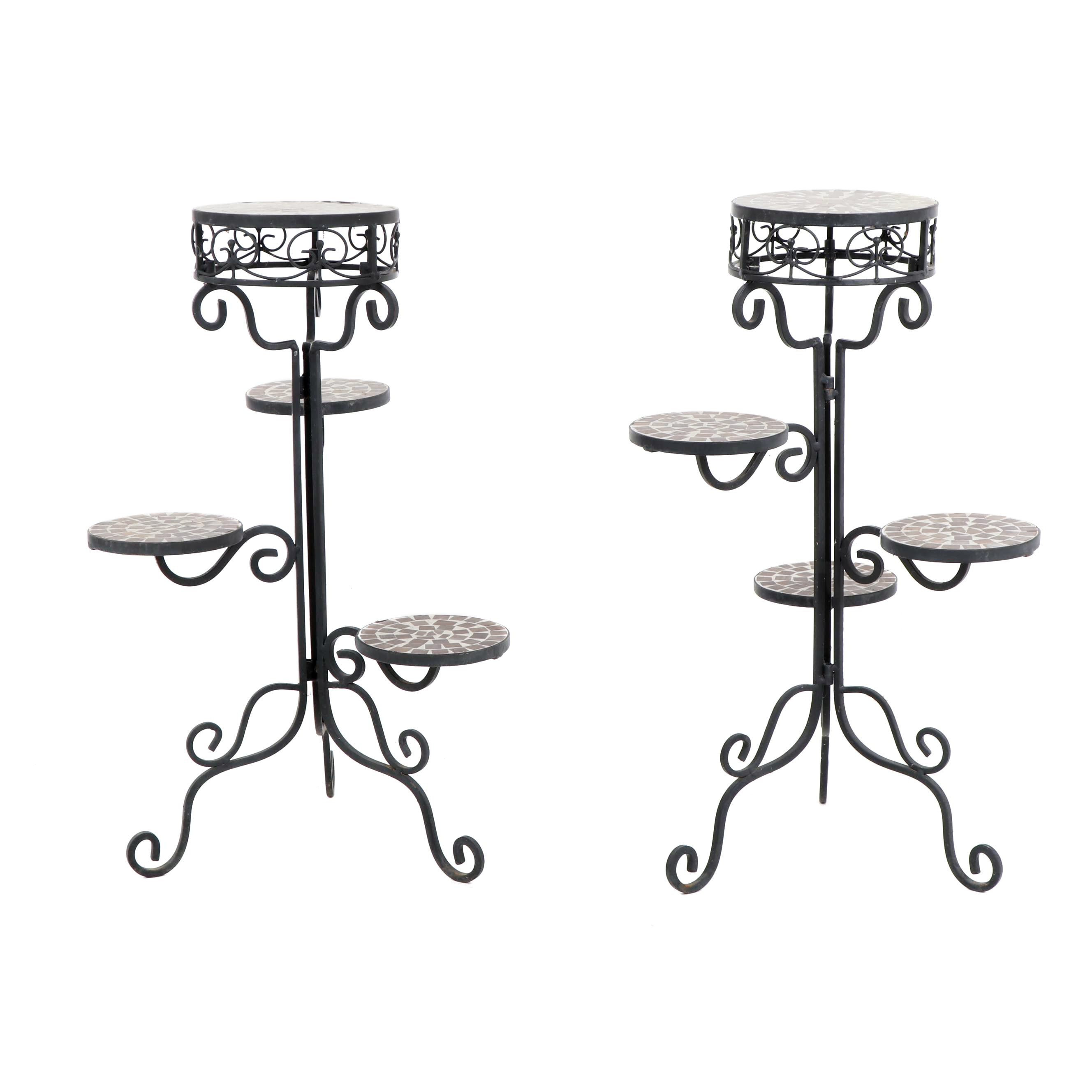Metal and Mosaic Tiered Plant Stands