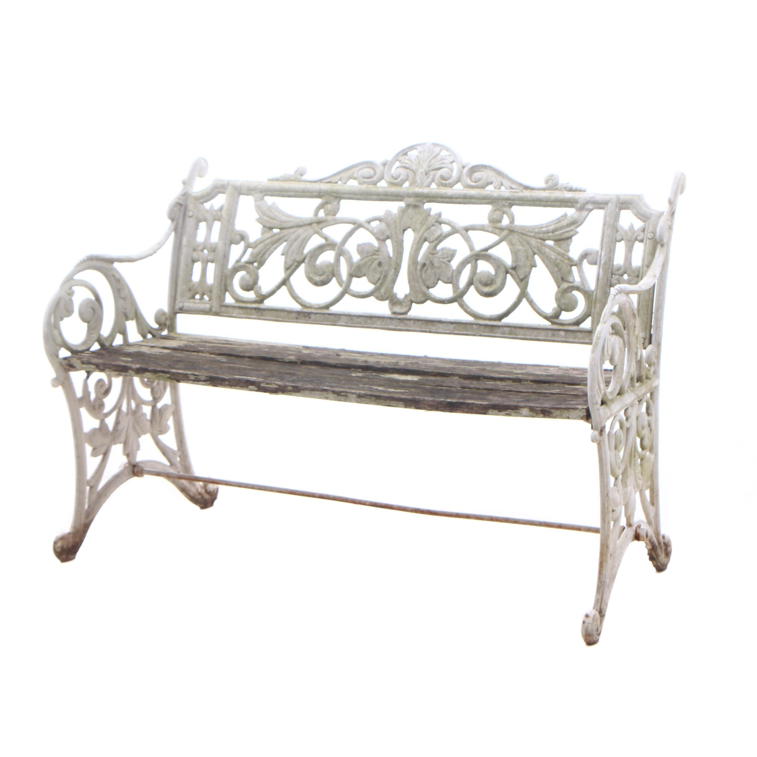 Victorian Style White Painted Cast Iron Garden Bench