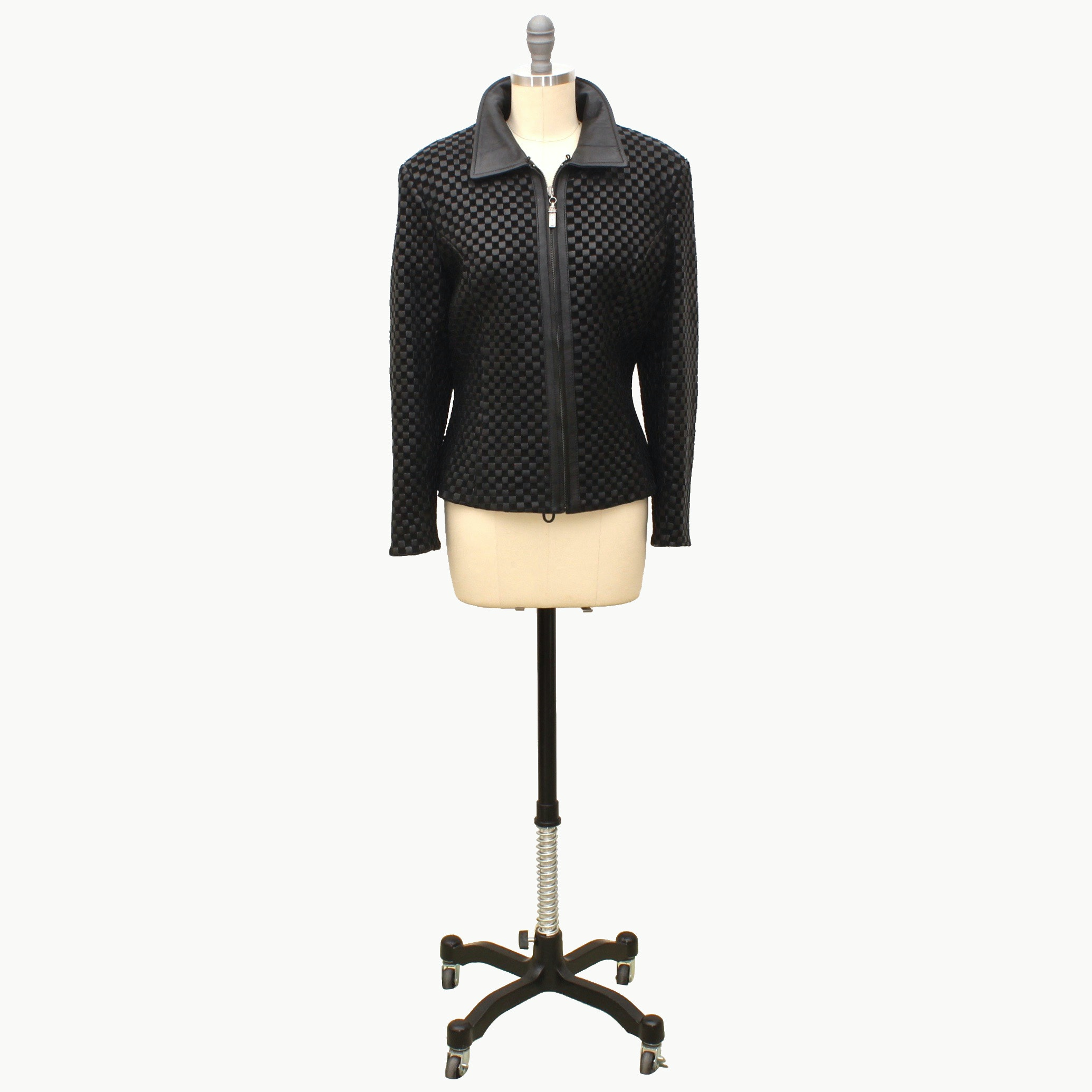 St. John Women's Black Leather Zipper-Front Jacket