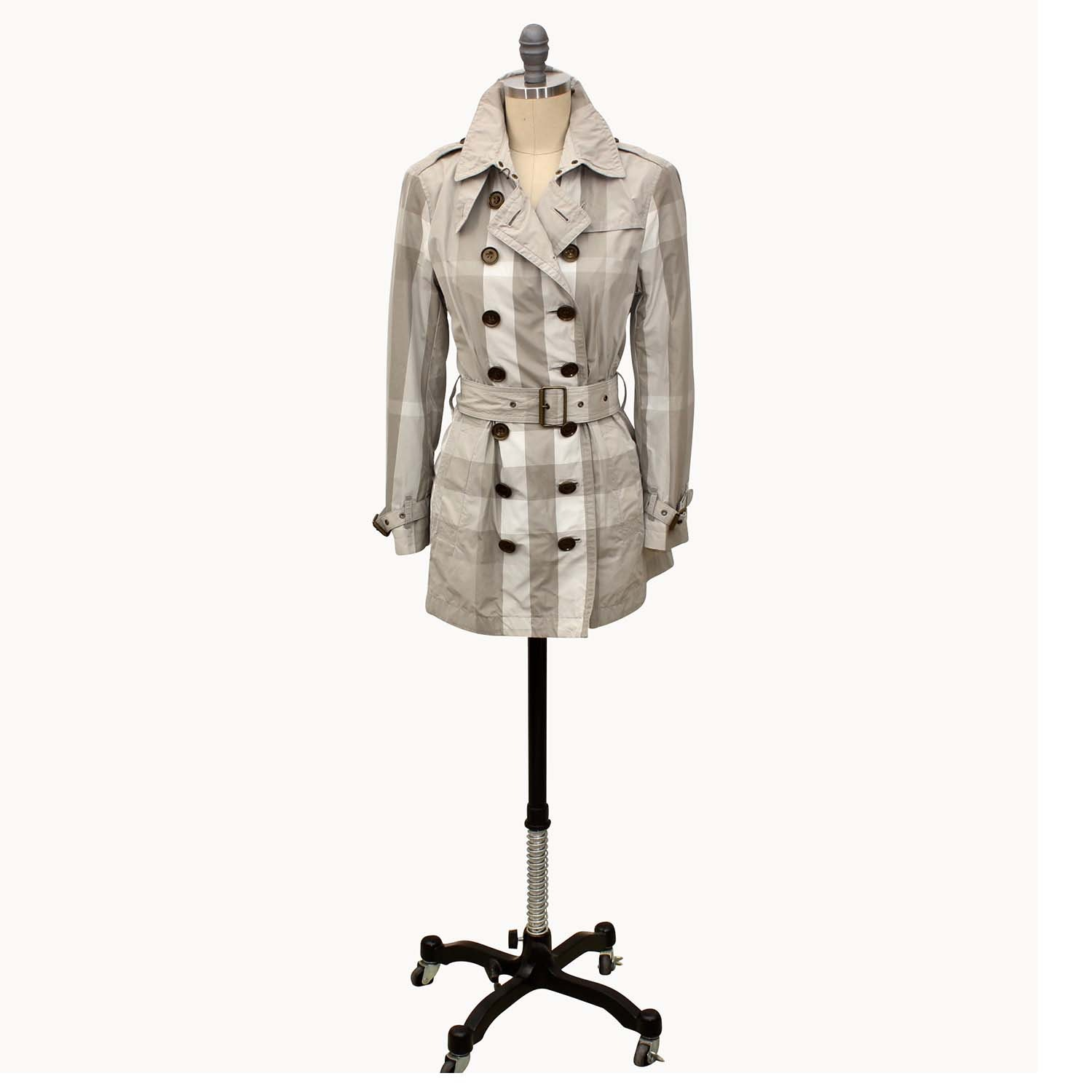 Burberry Brit Double-Breasted Short Trench Coat with Belt