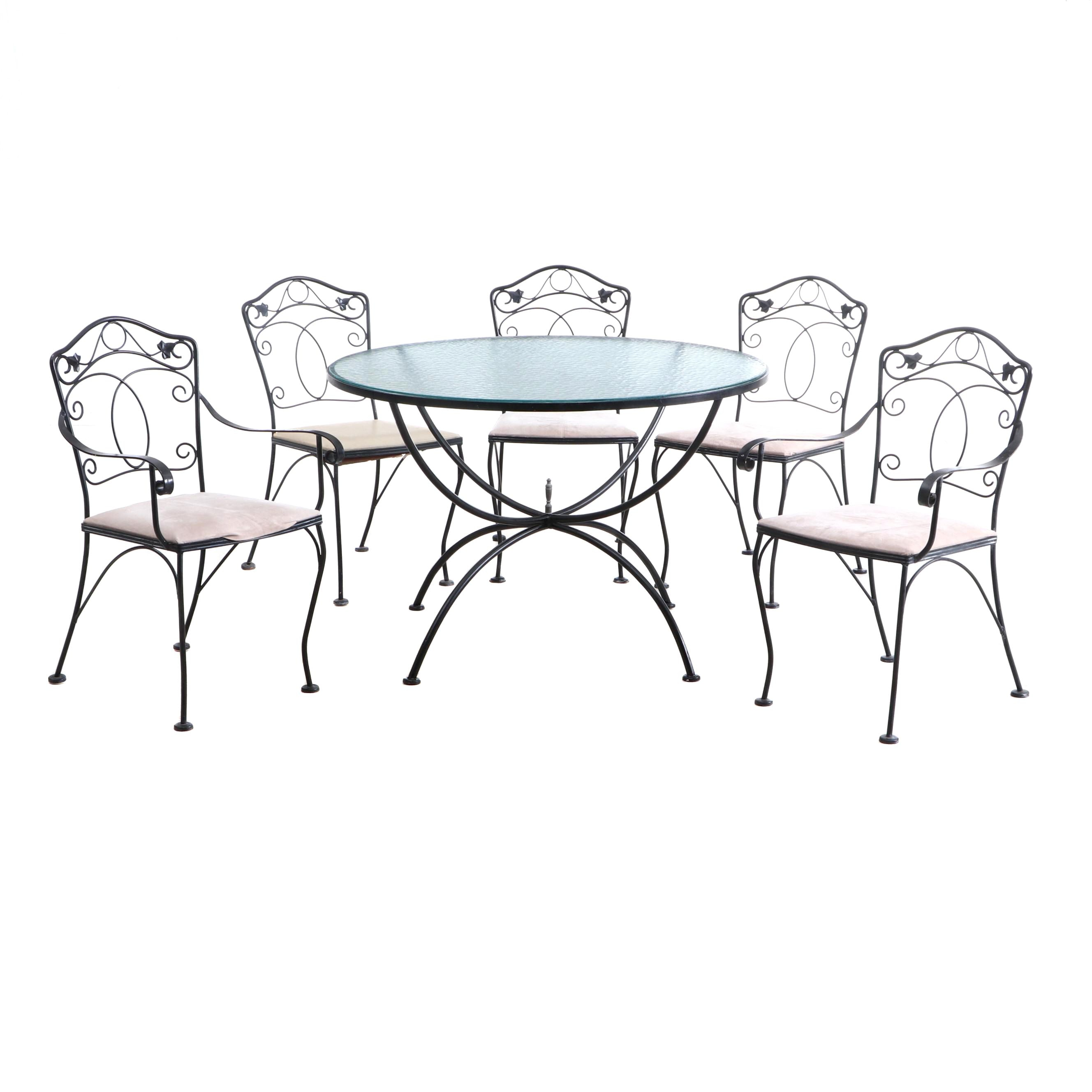 Wrought Metal Patio Table and Five Chairs by Meadowcraft