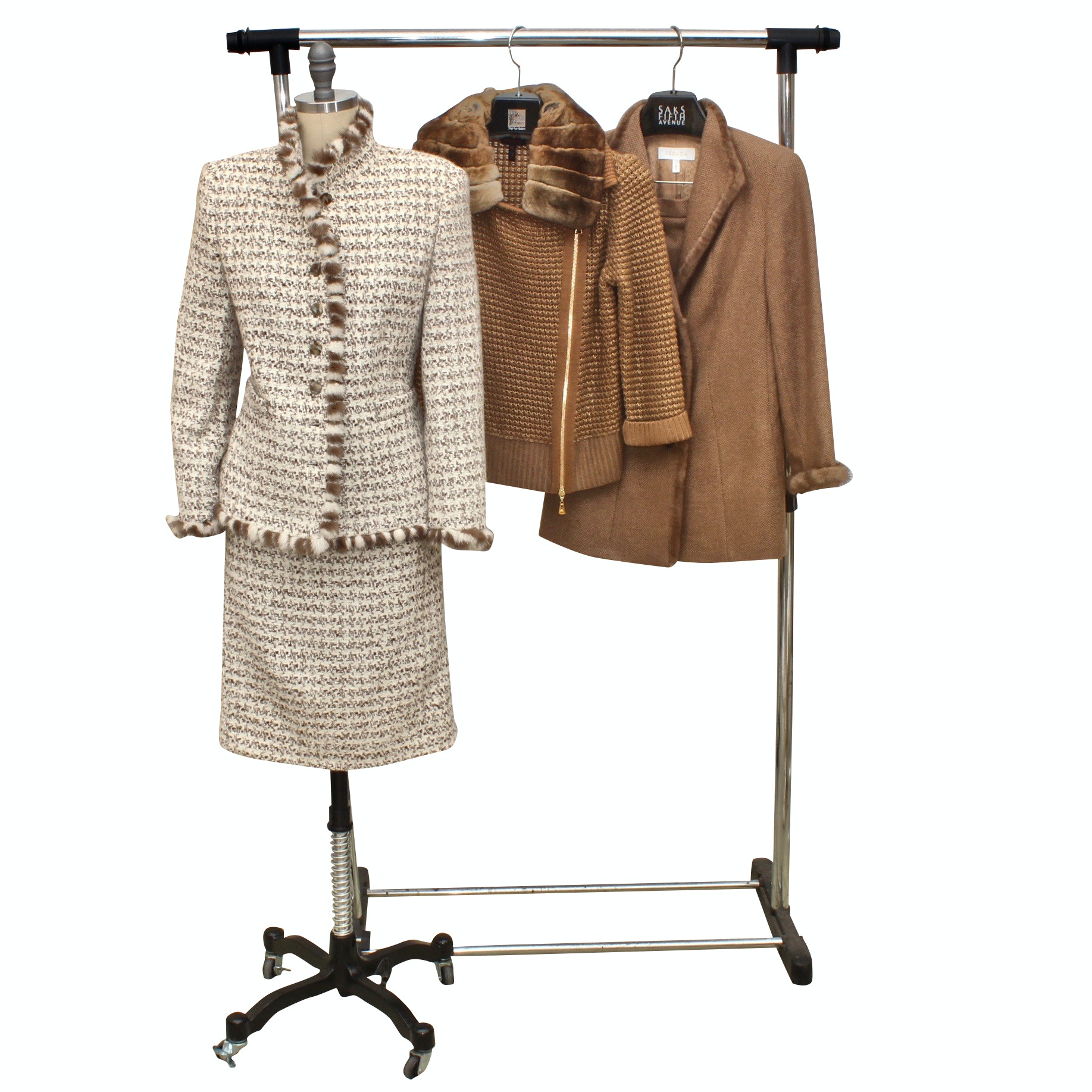 Escada Outerwear Including Camel, Rabbit, Llama, Mink, and Other Furs