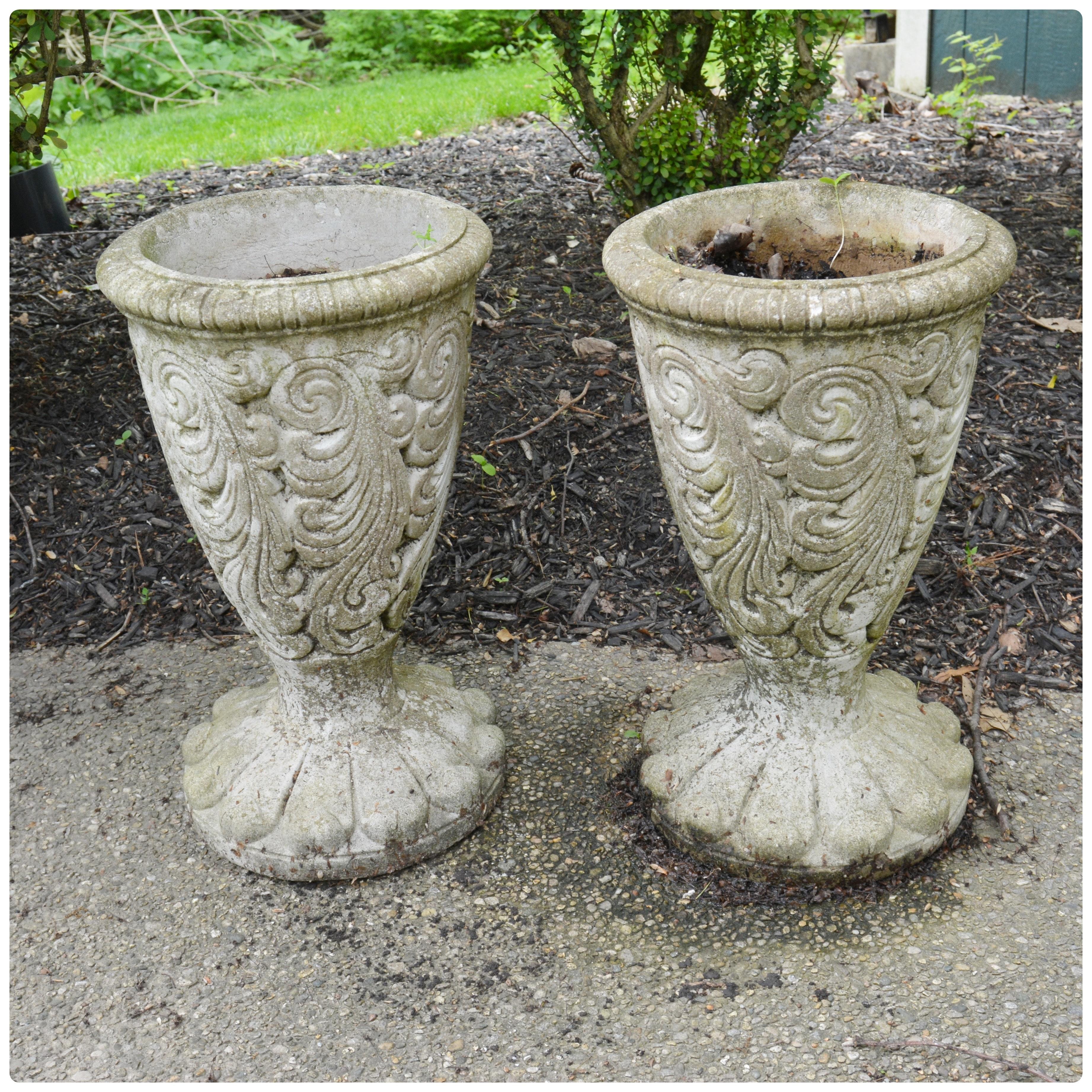 Pair of Embossed Concrete Planters