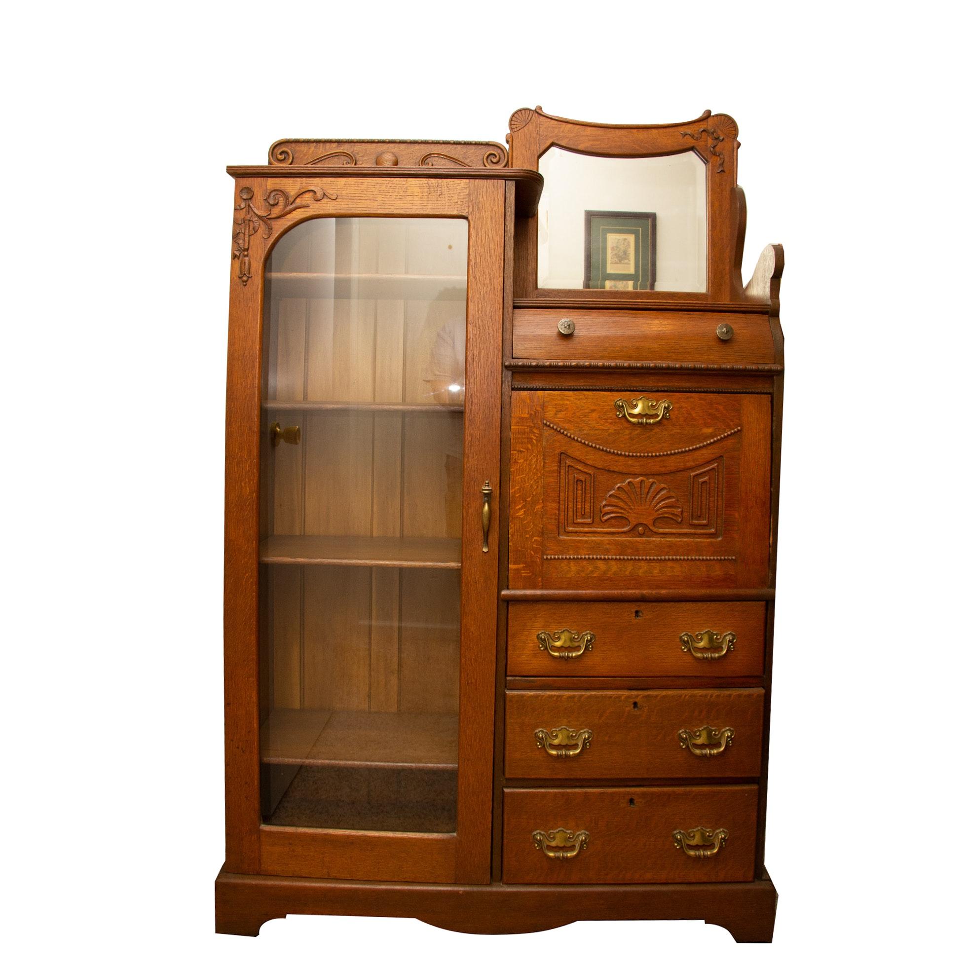 Late Victorian Oak Side-by Side Secretary Bookcase, Circa 1910