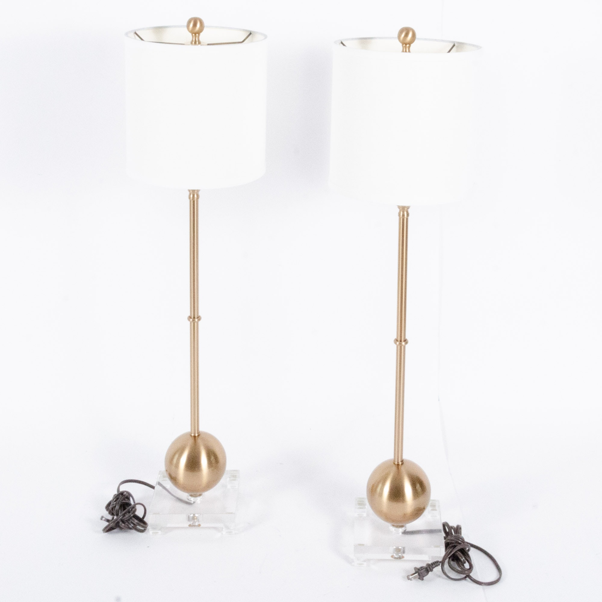 Contemporary Table Lamps in Brass and Acrylic
