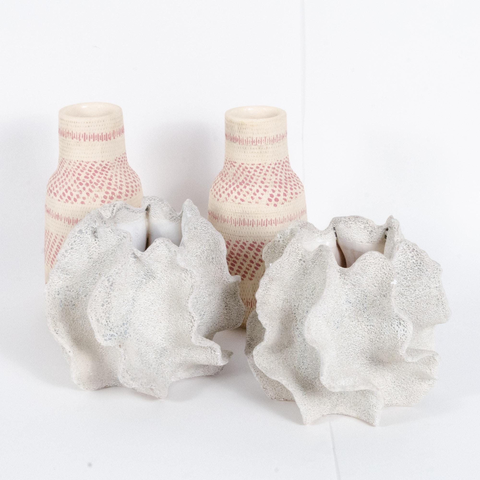 Modern Ceramic Vases in Painted Basket and Coral Reef Patterns