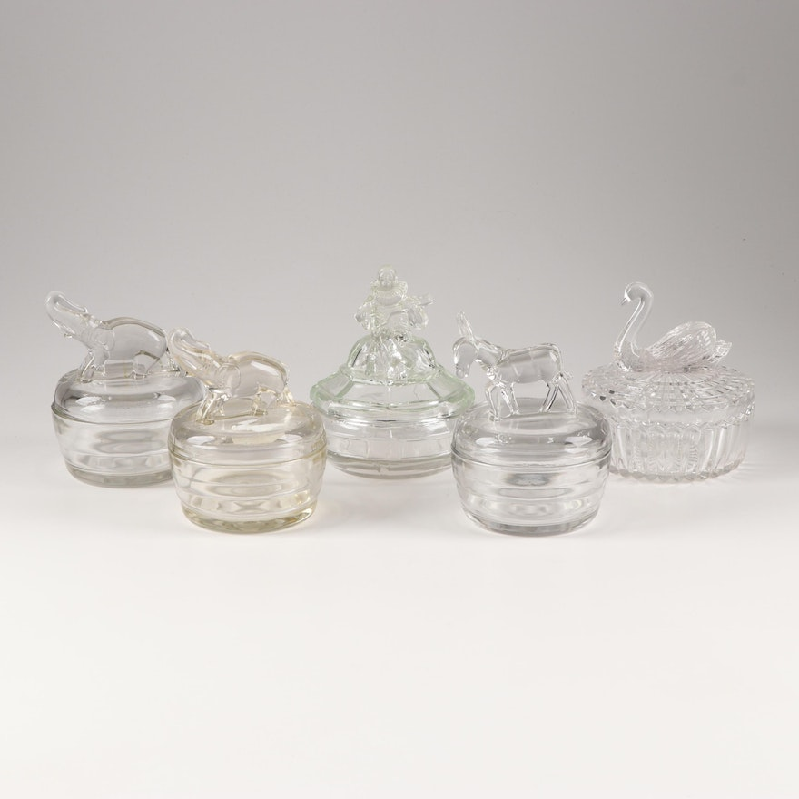Vintage Glass Powder Jars with Animal Figures Featuring Jeanette Specialty