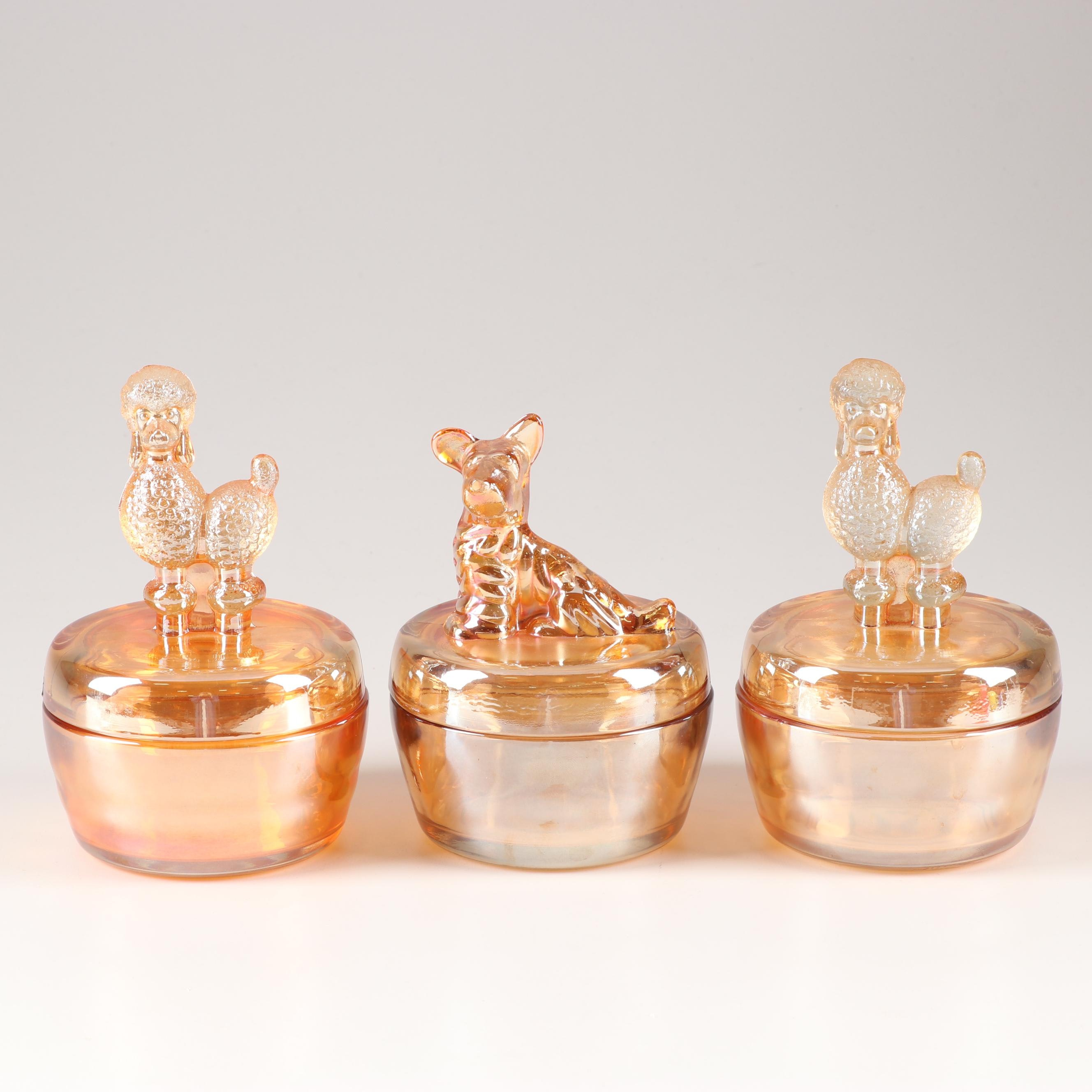 Vintage Jeanette Specialty Glass Powder Jars with Animal Figures