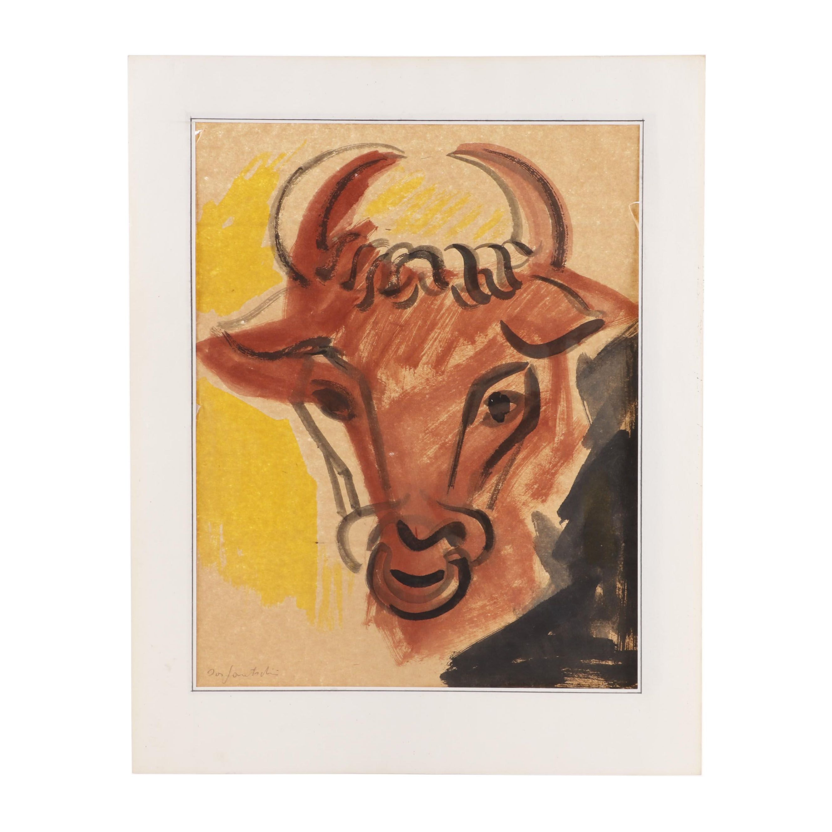 Watercolor Painting of a Bull