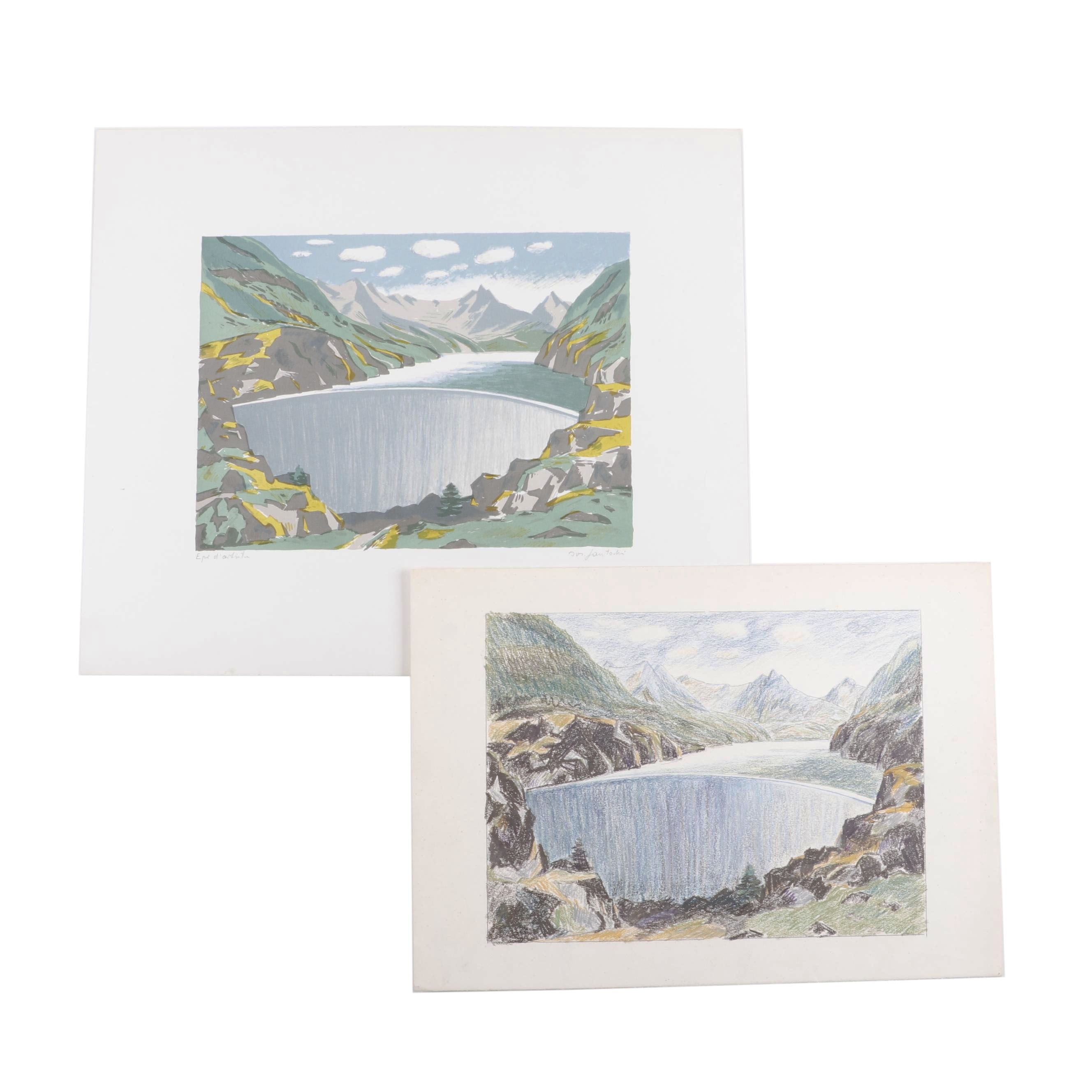 Late 20th Century Landscape Drawing and Lithograph