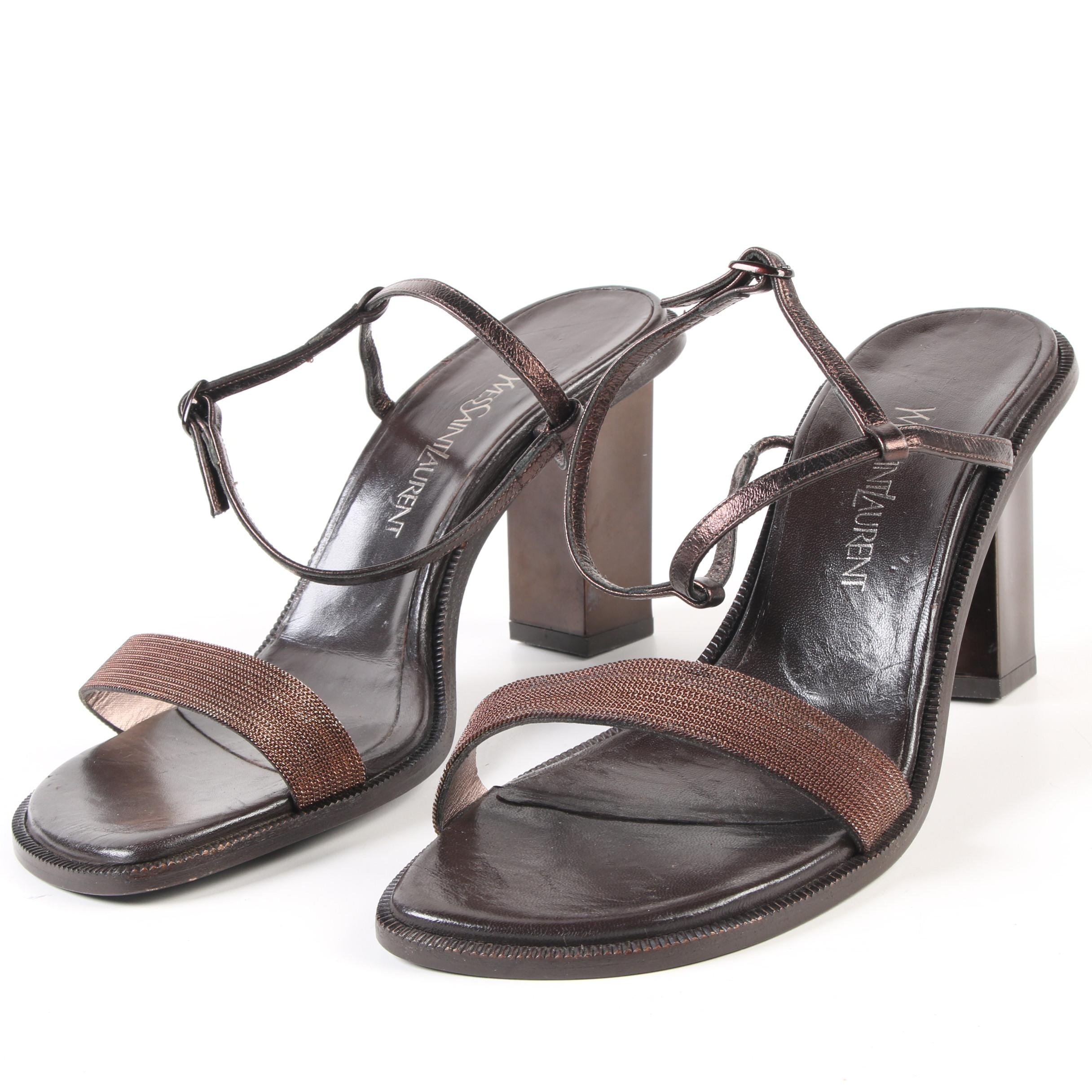 Yves Saint Laurent Brown Leather and Bronze Chain High Heel Ankle Strap Sandals