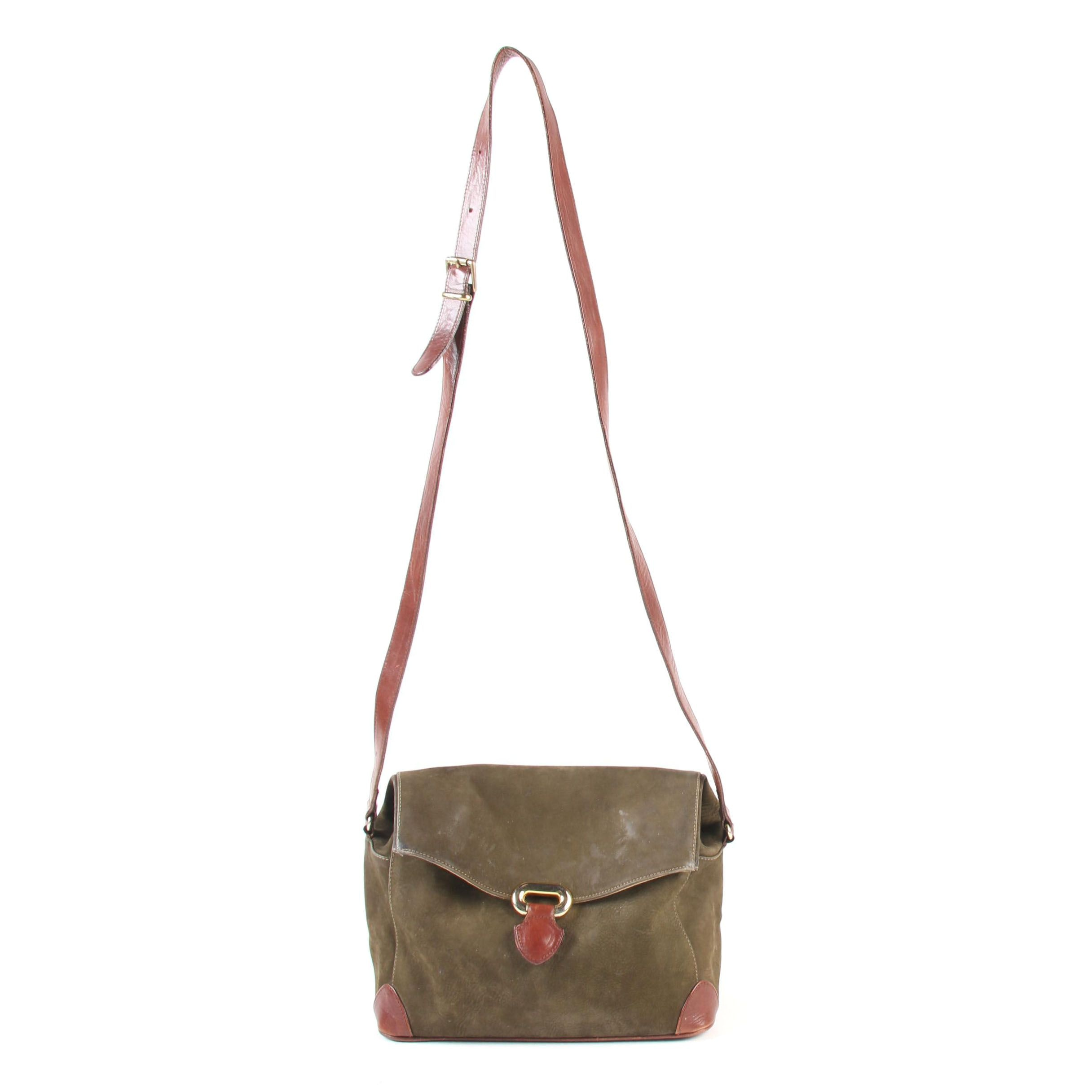 Furla Flap Front Croosbody Bag in Olive Green Suede and Mahogany Leather