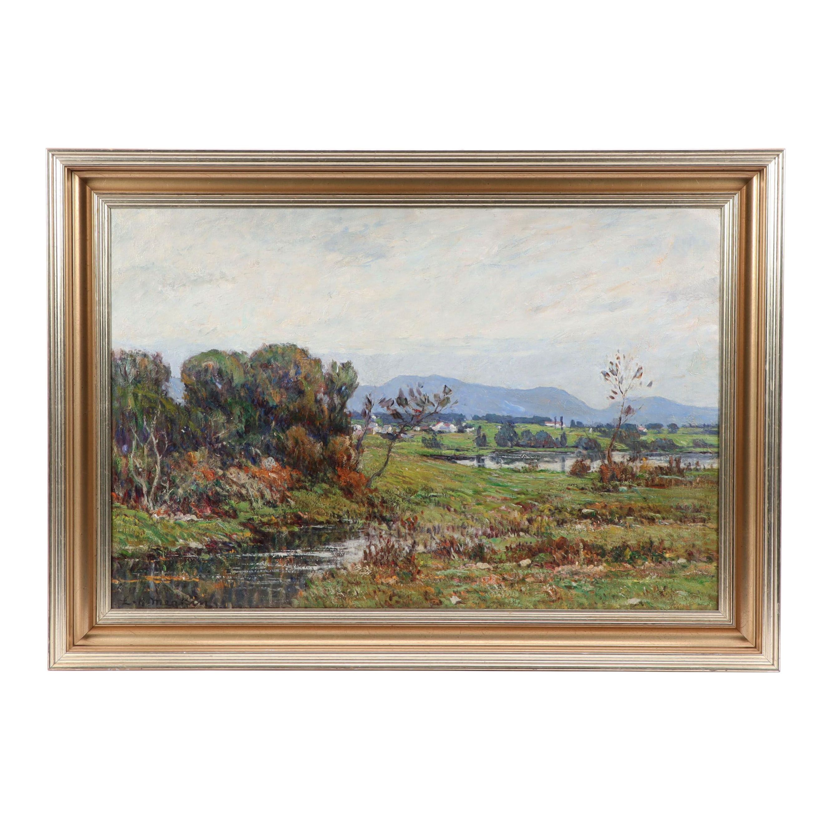 Lewis Henry Meakin Oil Painting of Landscape with Distant Town