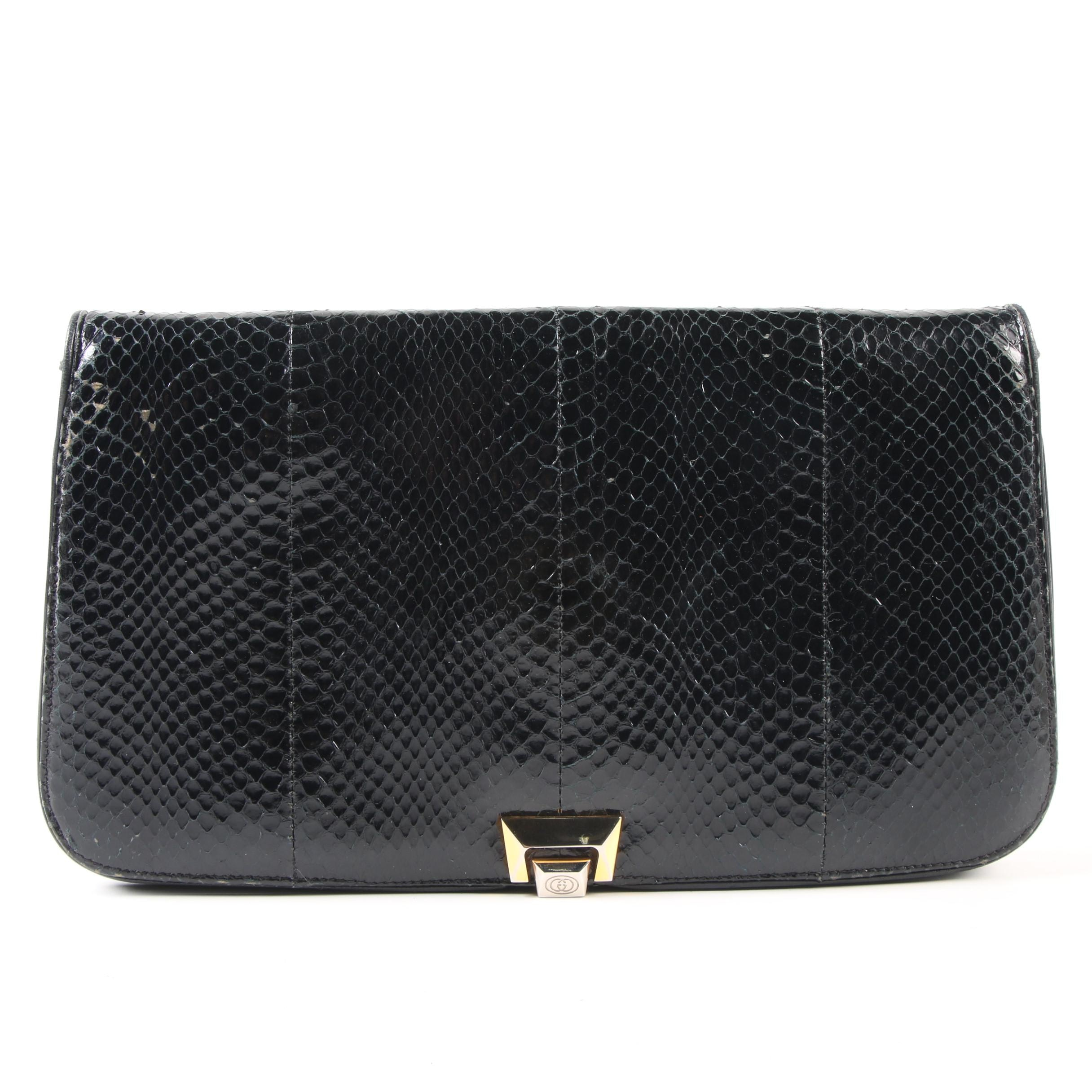 Gucci Black Snakeskin and Leather Flap Front Convertible Clutch, Vintage