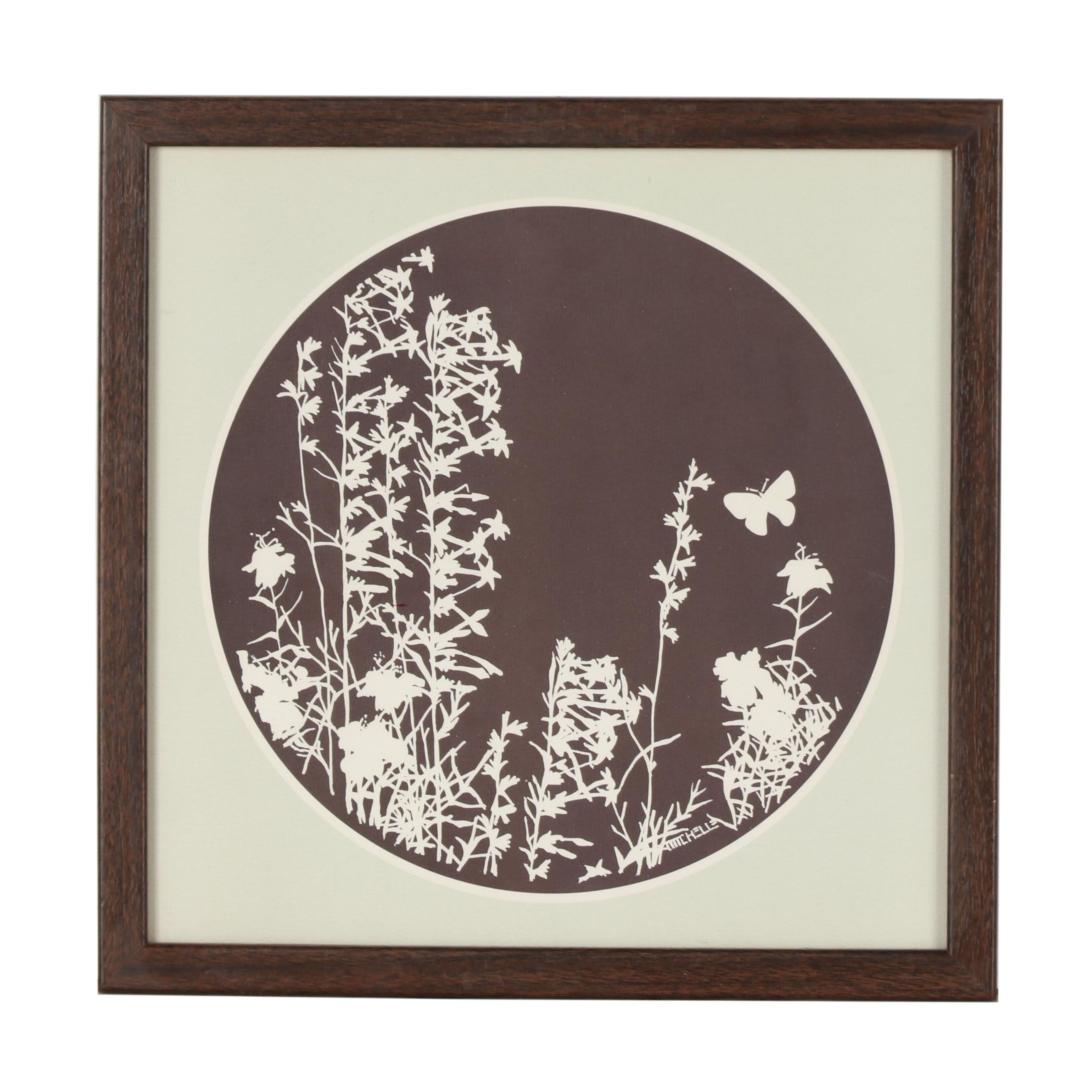 Michelle 1976 Abstract Lithograph of Botanical Composition