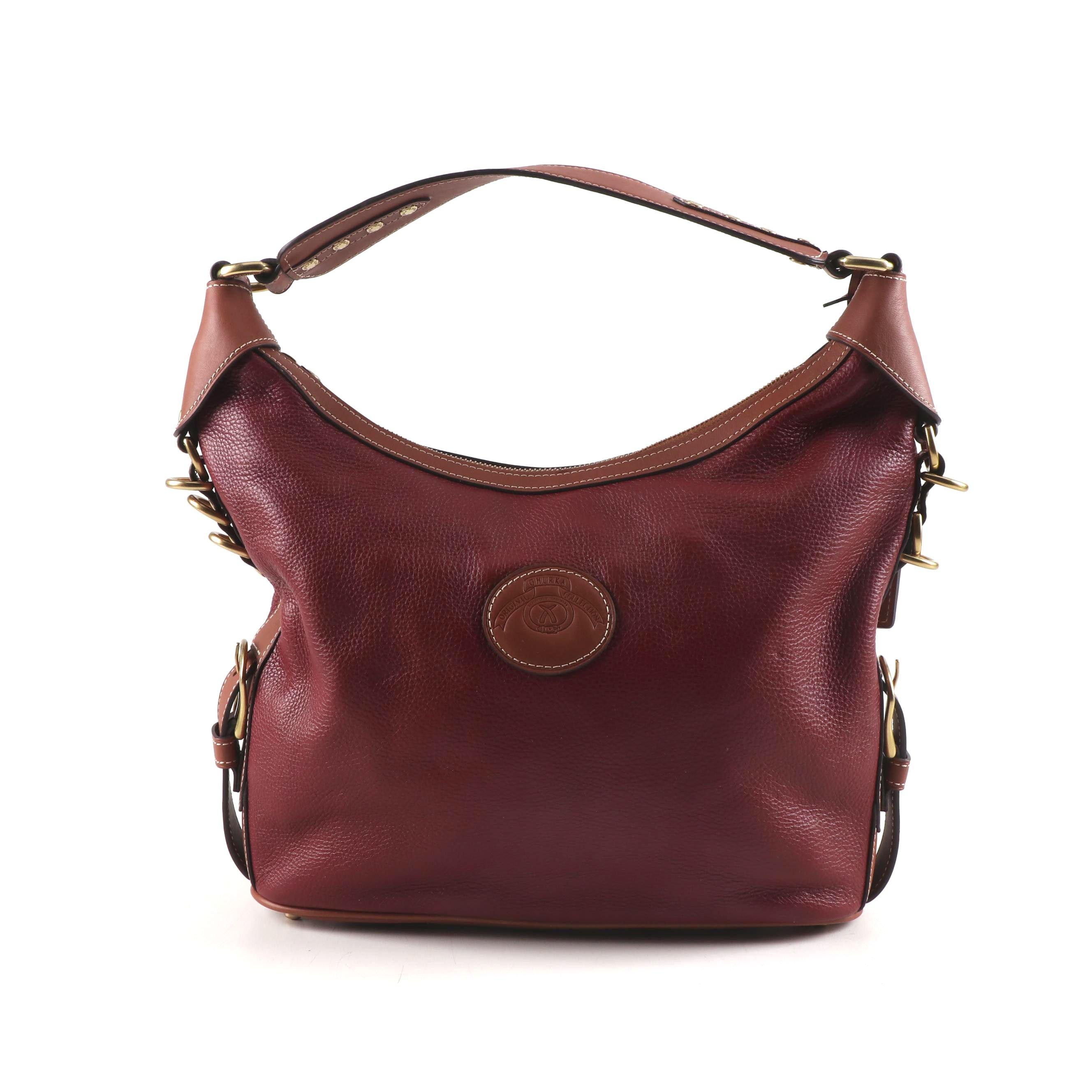 Ghurka Original Collection Two-Tone Pebbled Leather Shoulder Bag