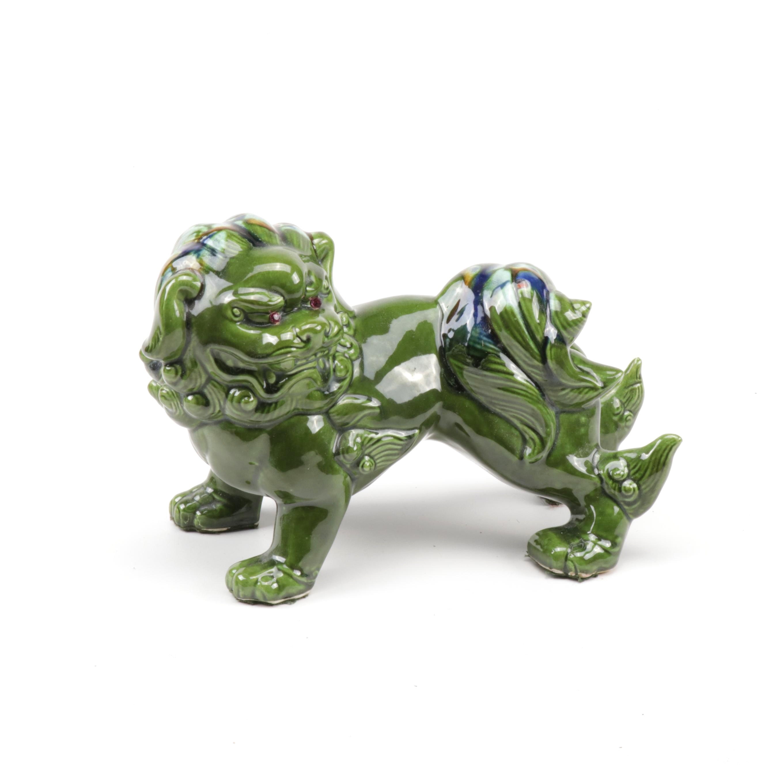 Green Ceramic Guardian Lion Figurine with Rhinestone Eyes