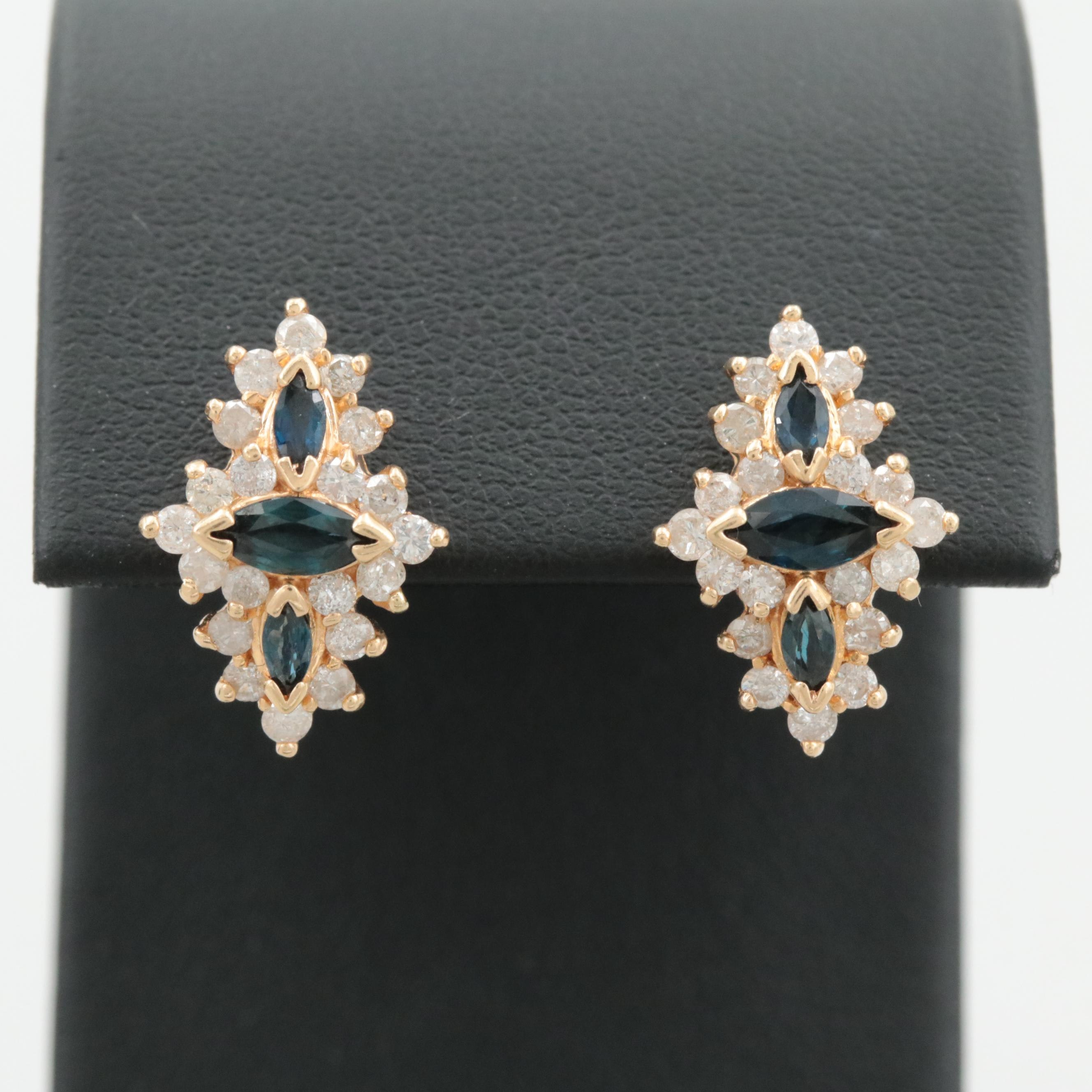 14K Yellow Gold Blue Sapphire and 1.05 CTW Diamond Earrings
