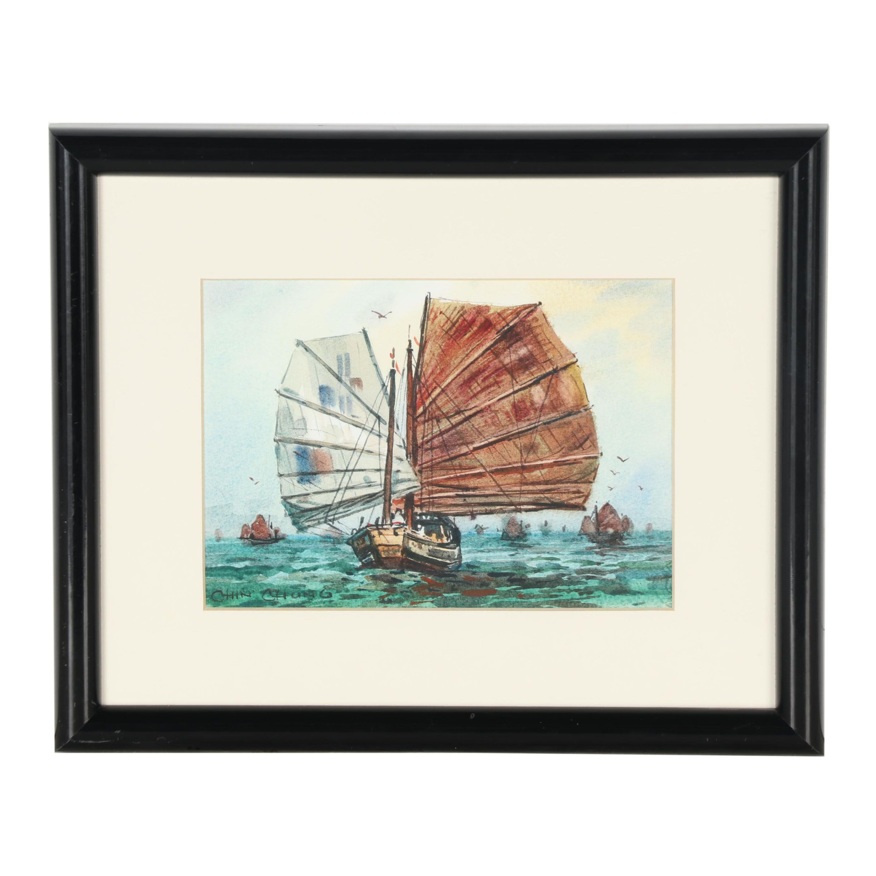 Chin Chung Watercolor Painting of Nautical Scene