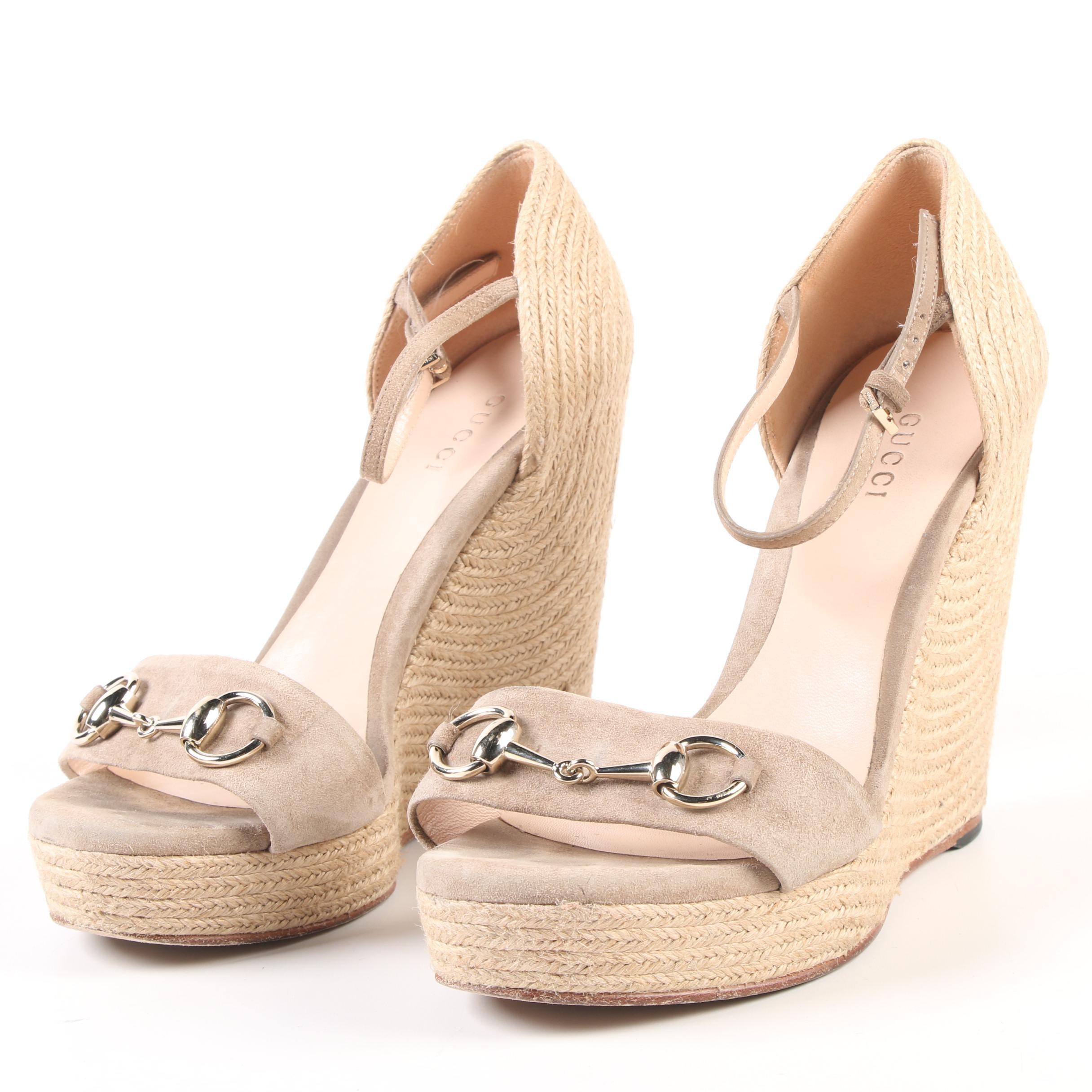 Gucci Carolina Horsebit Beige Suede Platform Wedge Ankle Strap Espadrilles