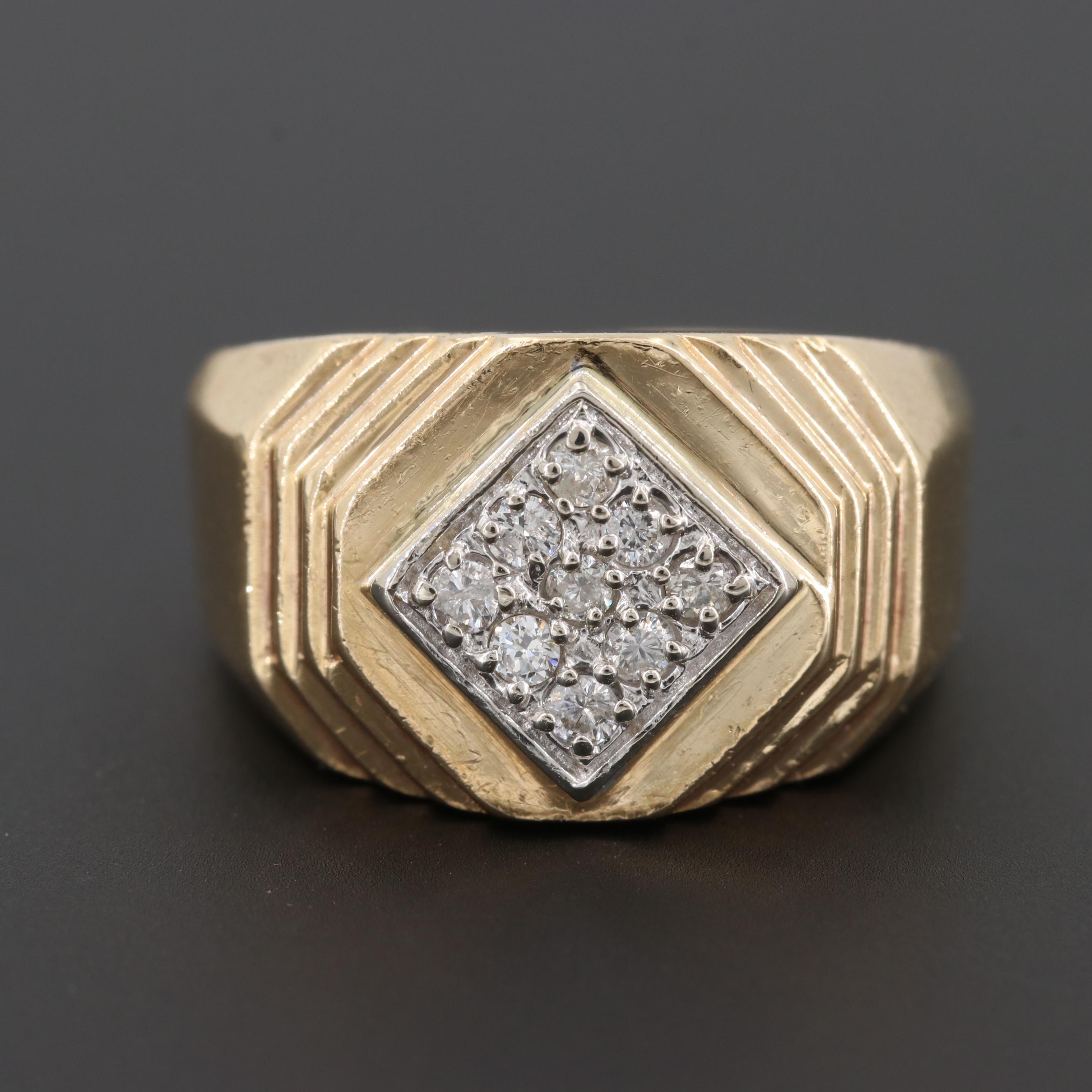 14K Yellow Gold Diamond Pavé Ring