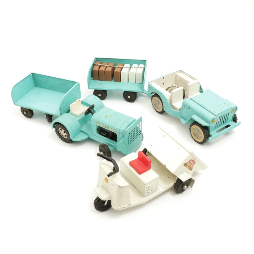 1960s Tonka Baggage Carrier, Jeep and Serv-I-Car Die-Cast Vehicles