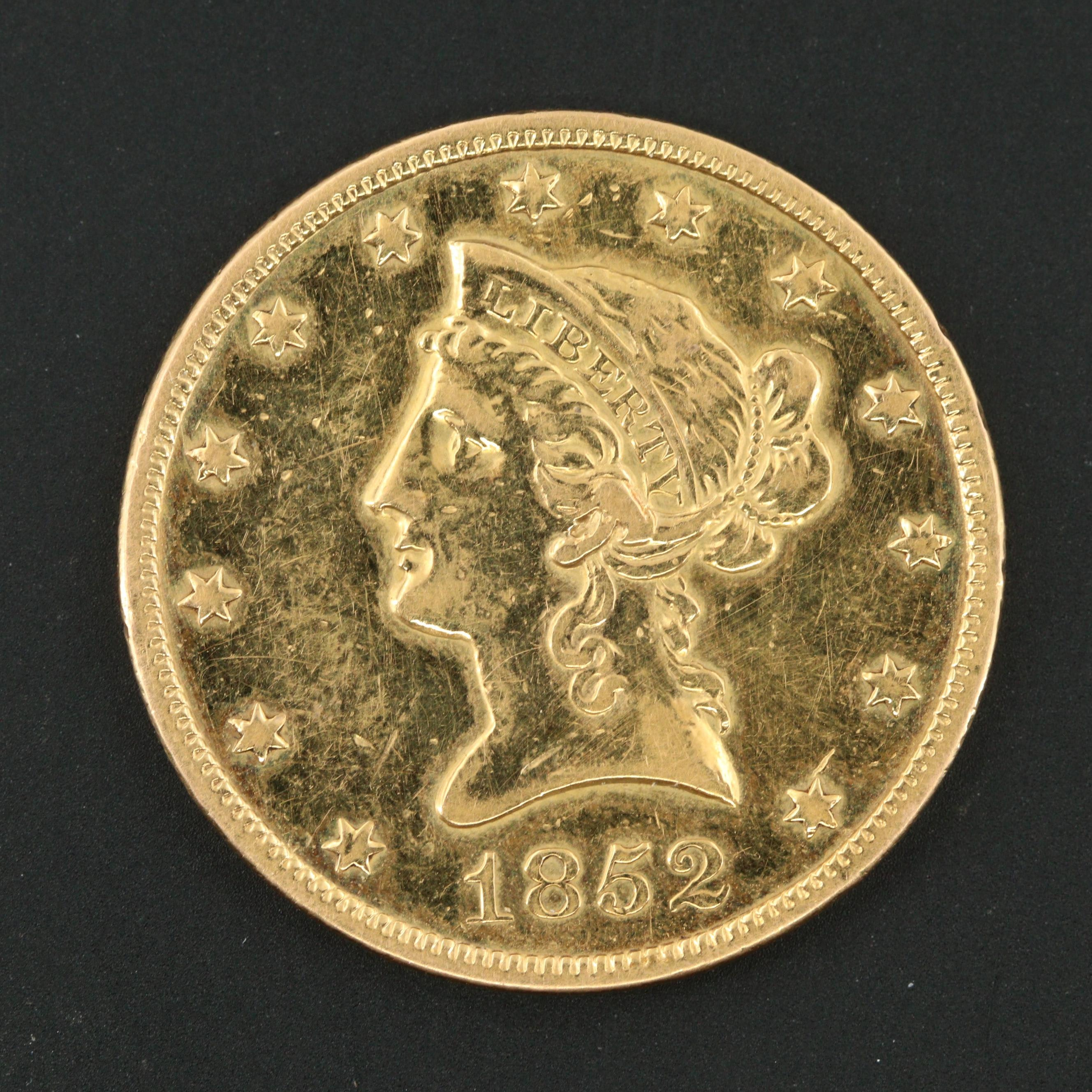 1852 Liberty Head $10 Eagle Gold Coin