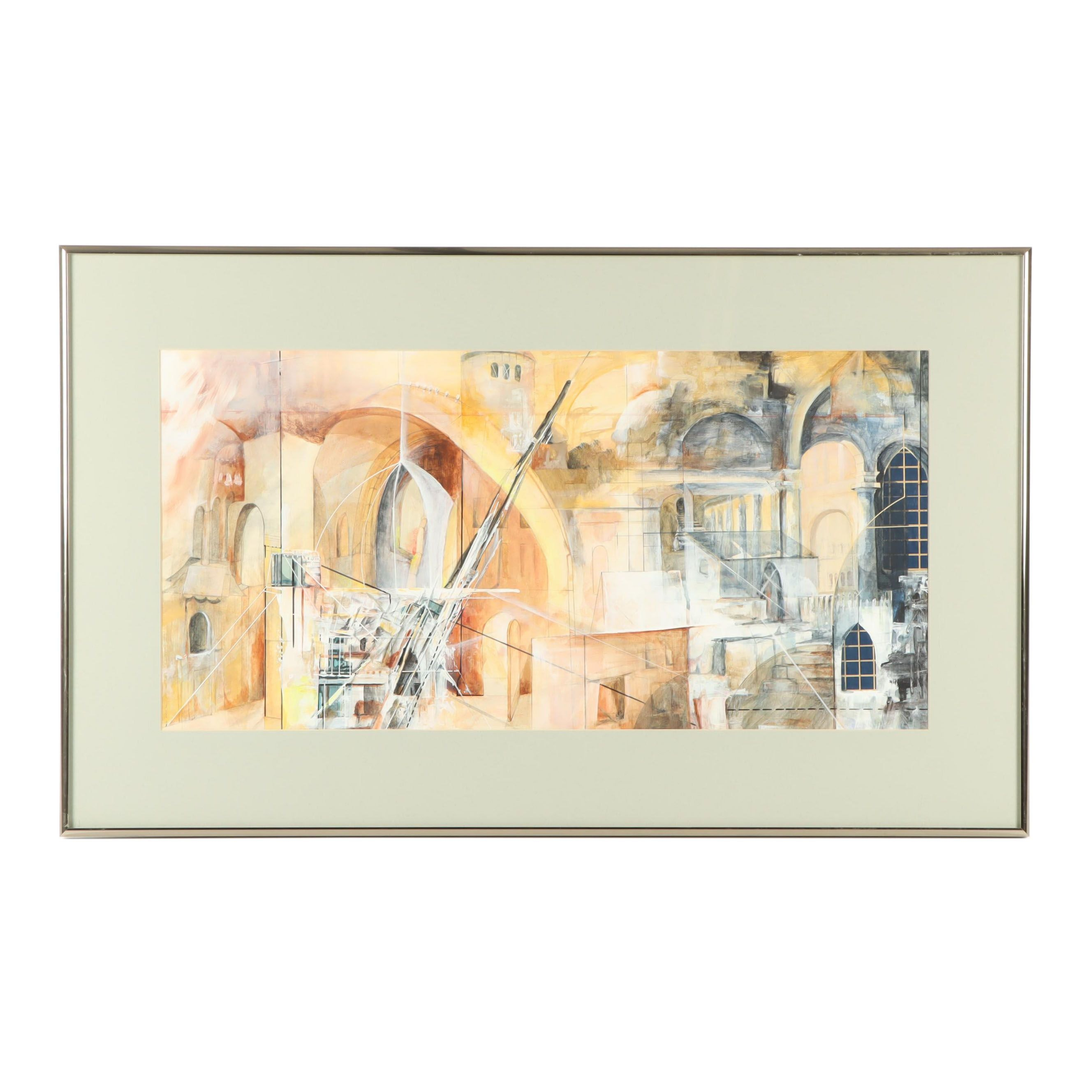 20th Century Abstract Architectural Mixed Media Work