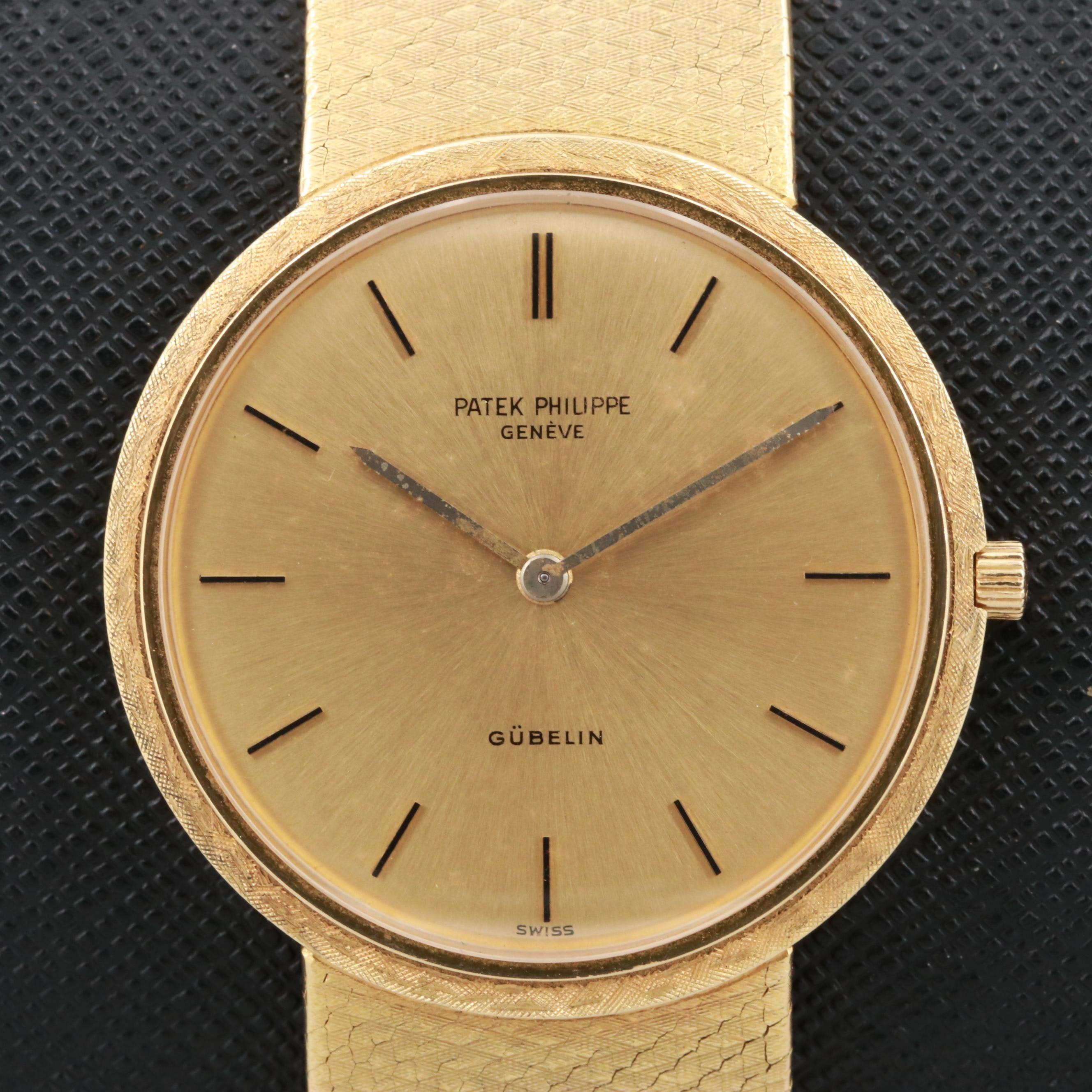 Vintage Patek Philippe Calatrava 18K Gold Stem Wind Wristwatch With Gubelin Dial