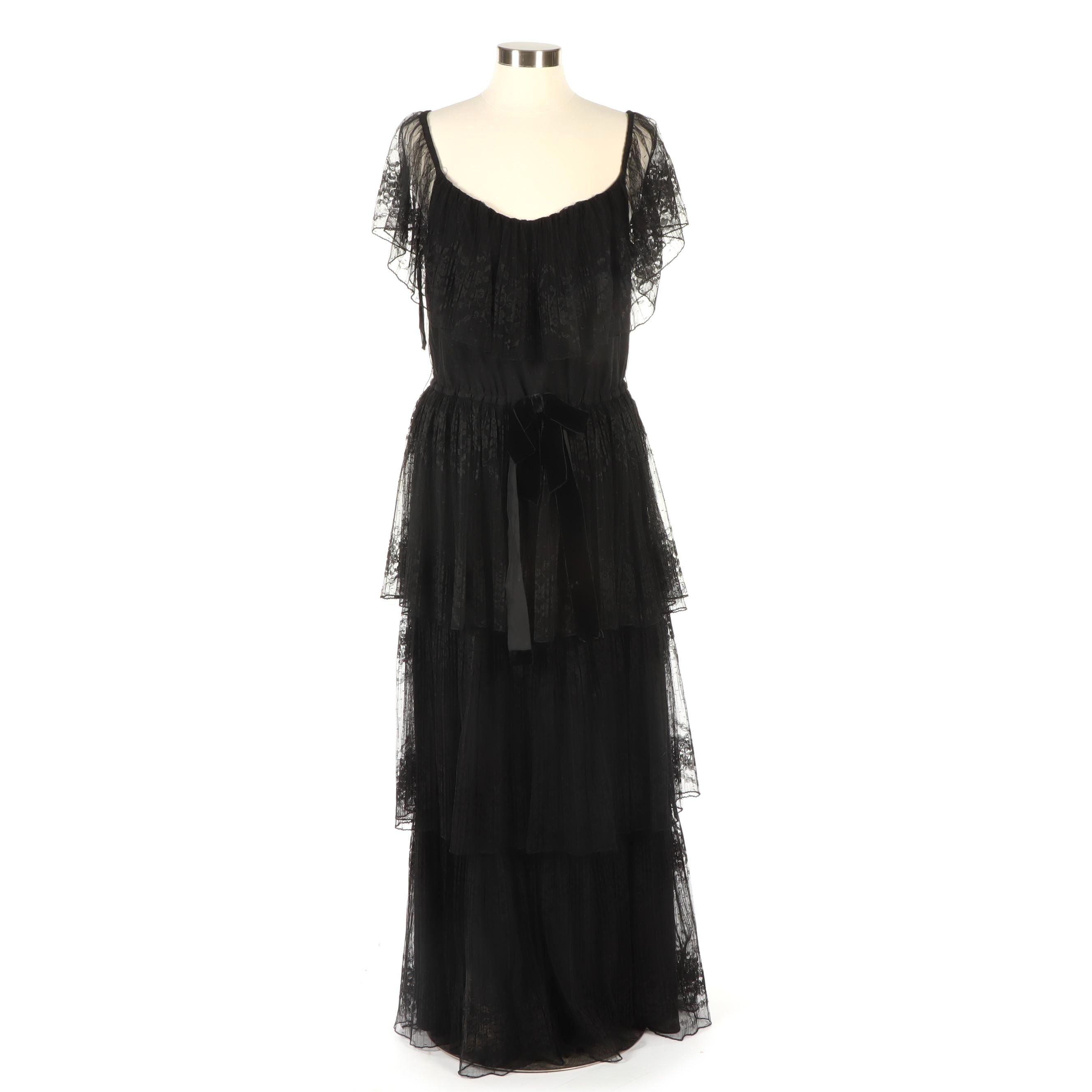 Jeri Modes New York Lace Evening Dress with Black Velvet Bow, Vintage