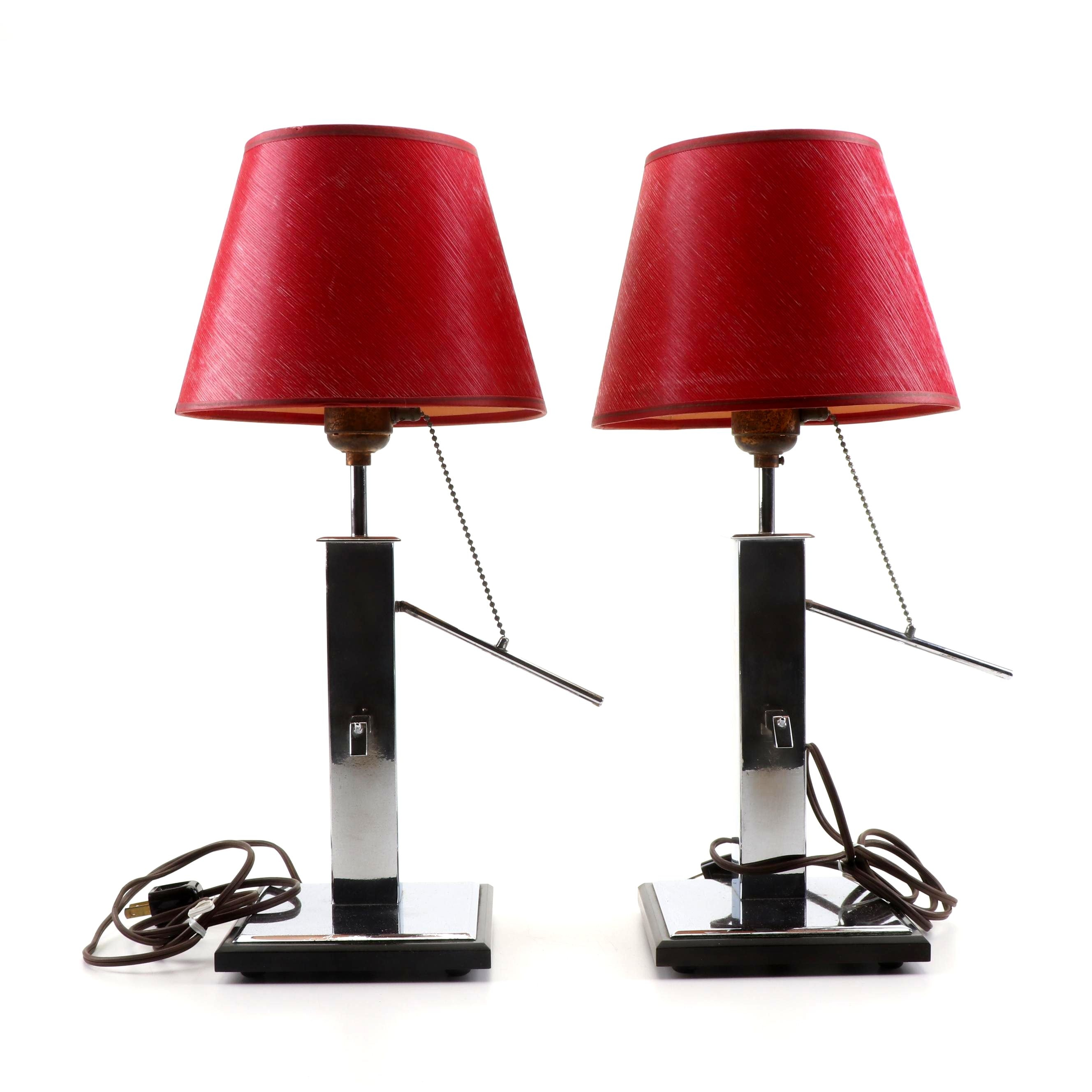 Chrome Mechanical Water Pump Form Table Lamps, Mid-Century