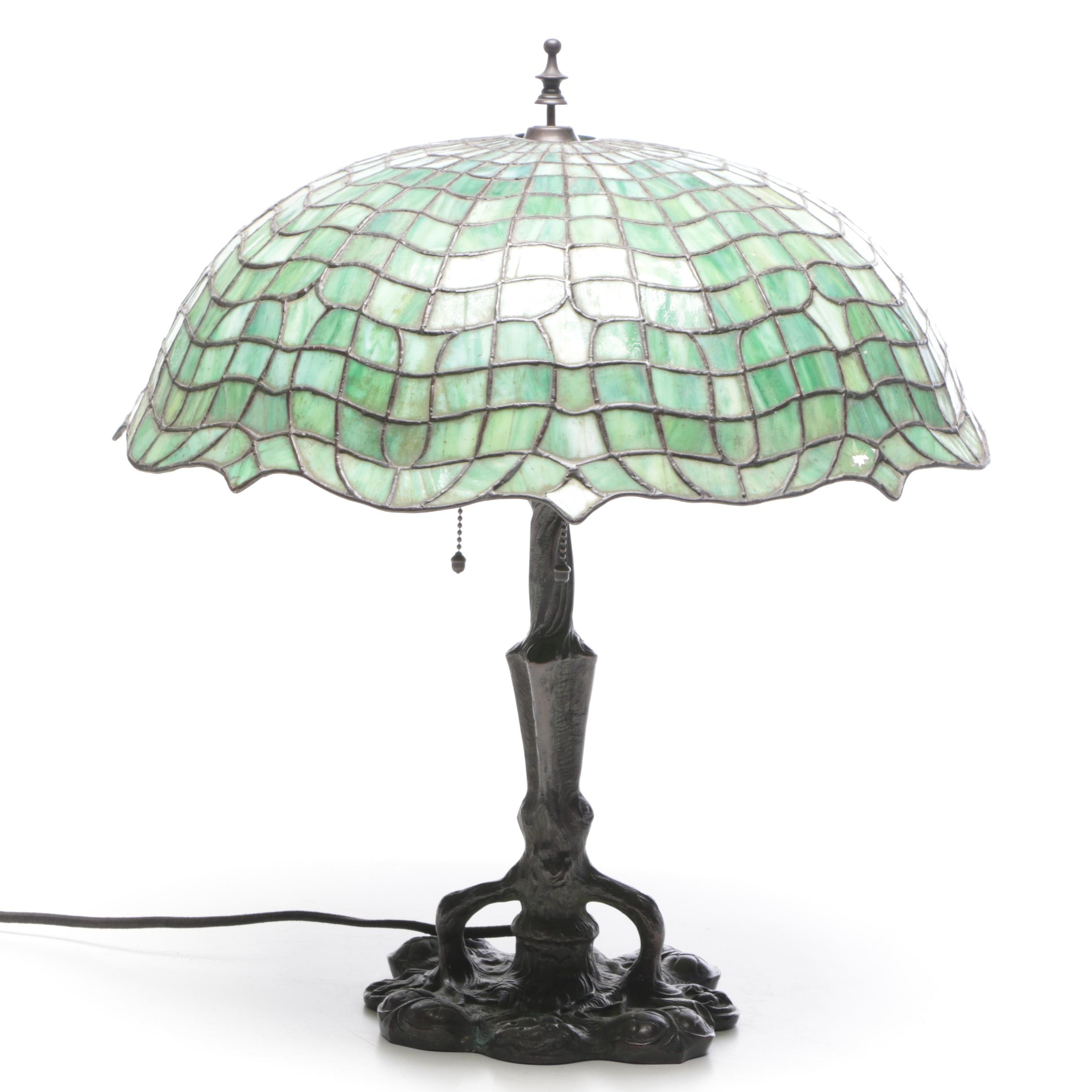 Cast Metal Art Nouveau Table Lamp with Leaded Glass Shade