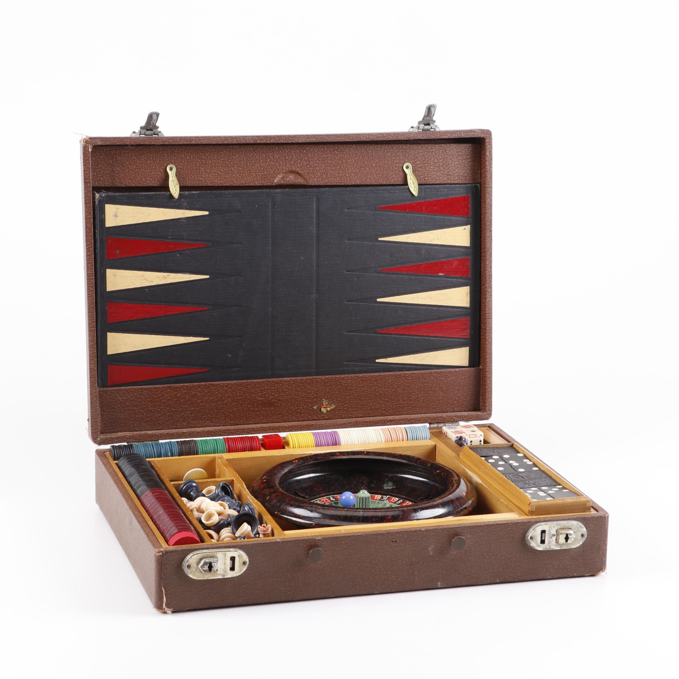 Mini Roulette, Dice, Chess Combo Vintage Gaming Set