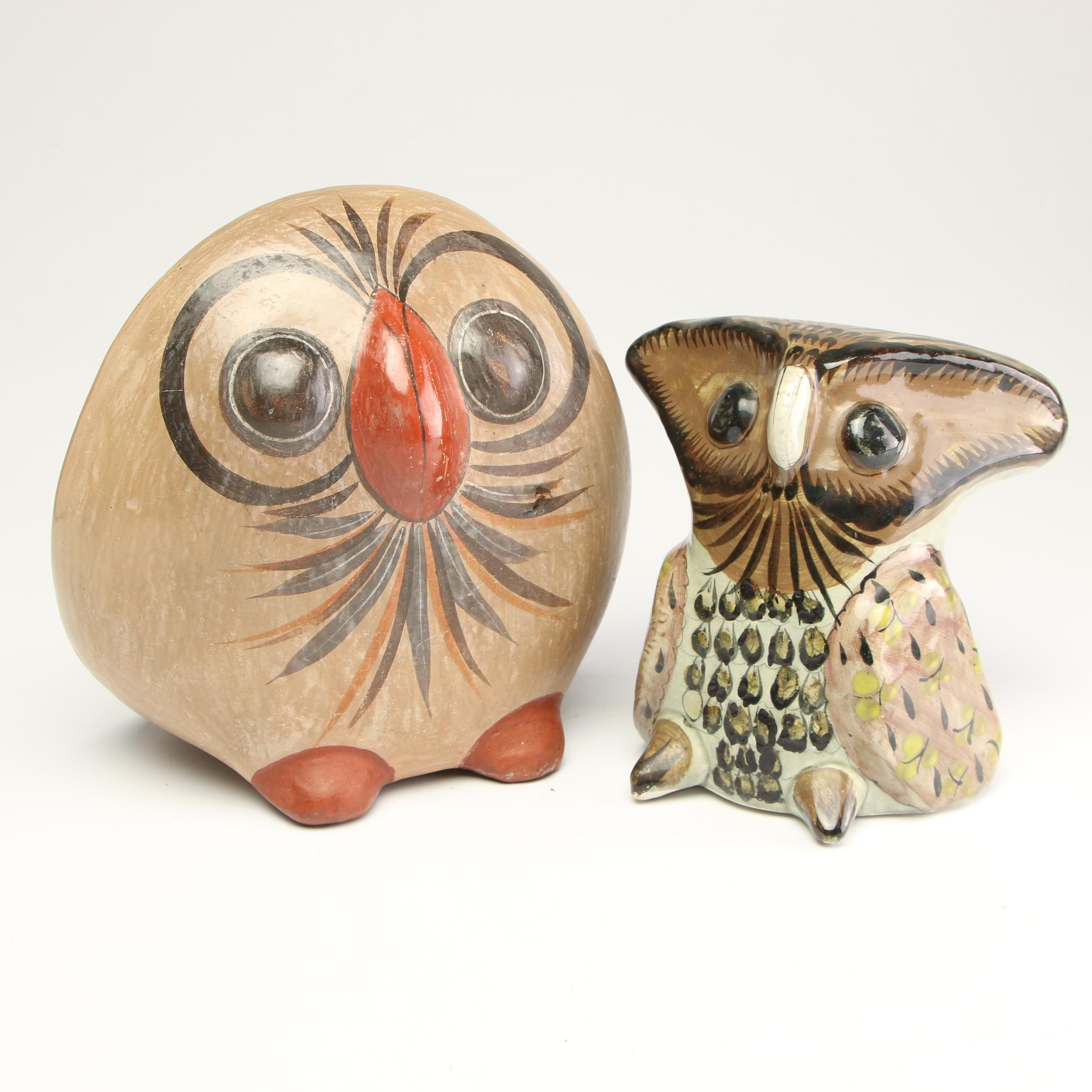 Mexican Ceramic Owl Figurines, Mid 20th Century