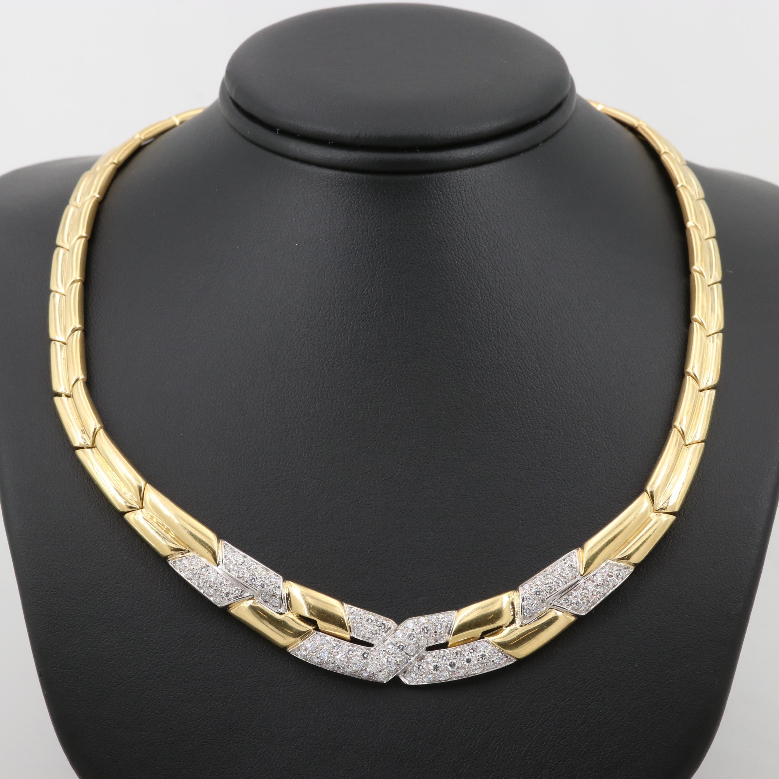 18K Yellow Gold 2.52 CTW Diamond Pavé Graduated Necklace