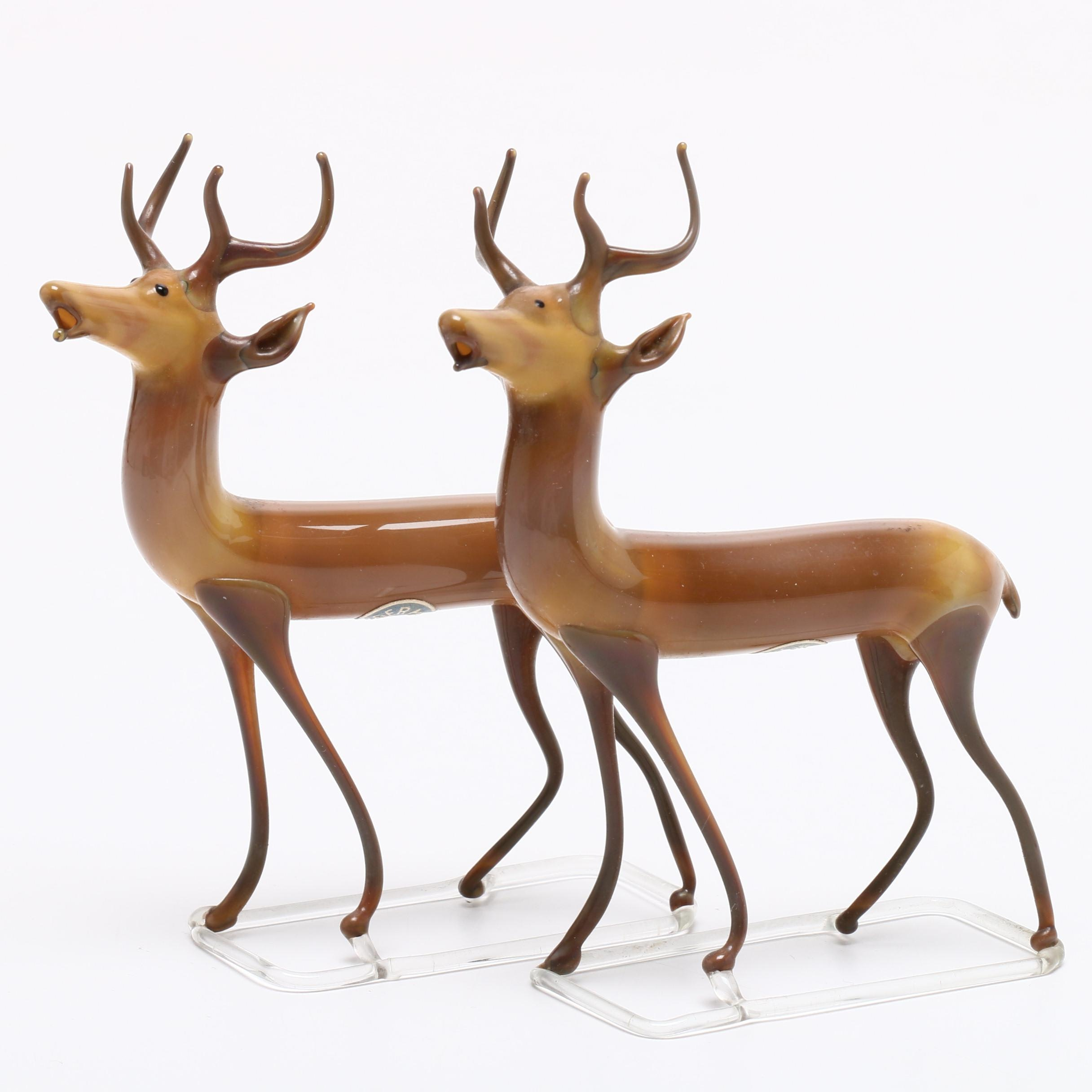 German Hand Blown Glass Deer Figurines, Mid-Century