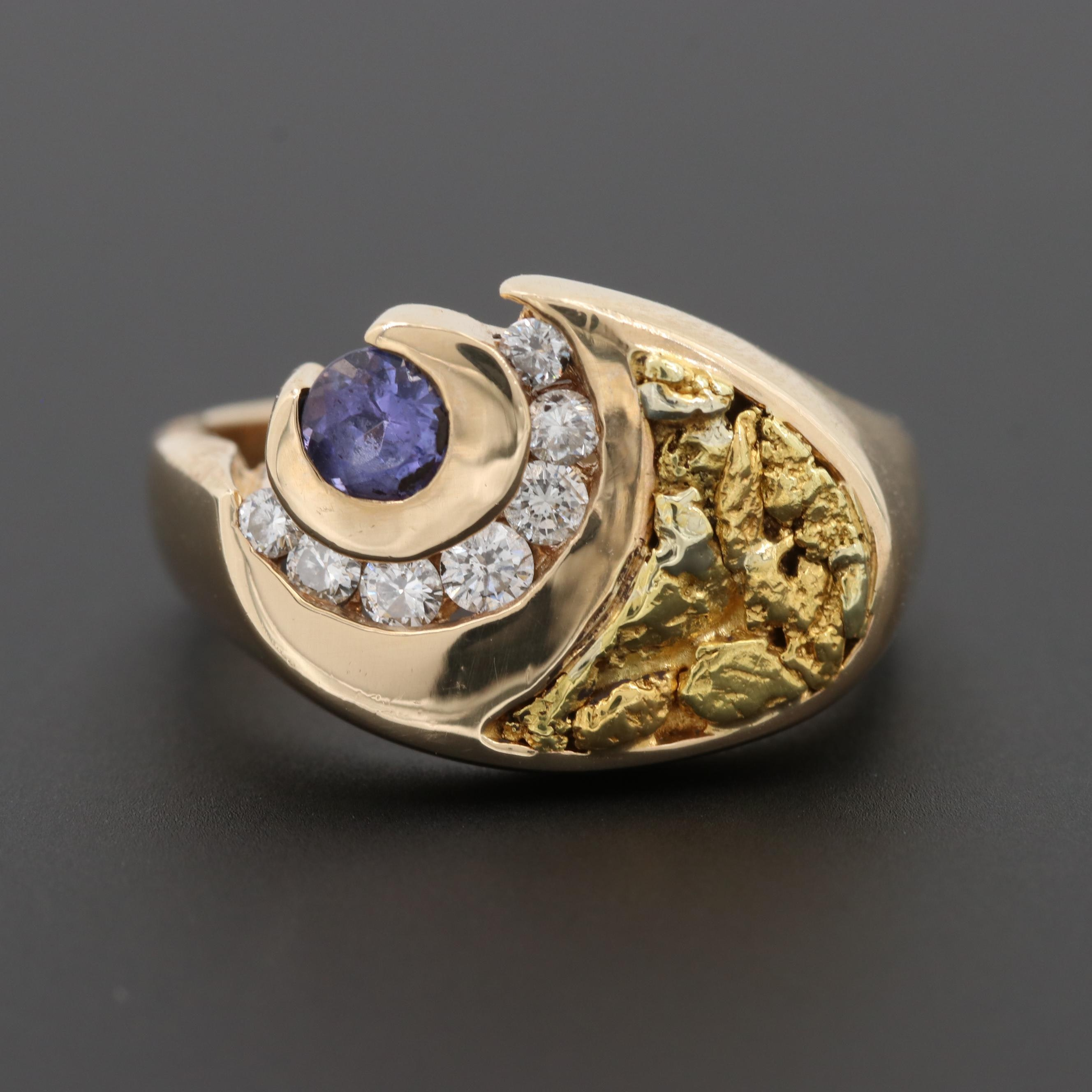 Vintage Kabana 14K Yellow Gold Tanzanite and Diamond Ring with 20K Nugget Inlay