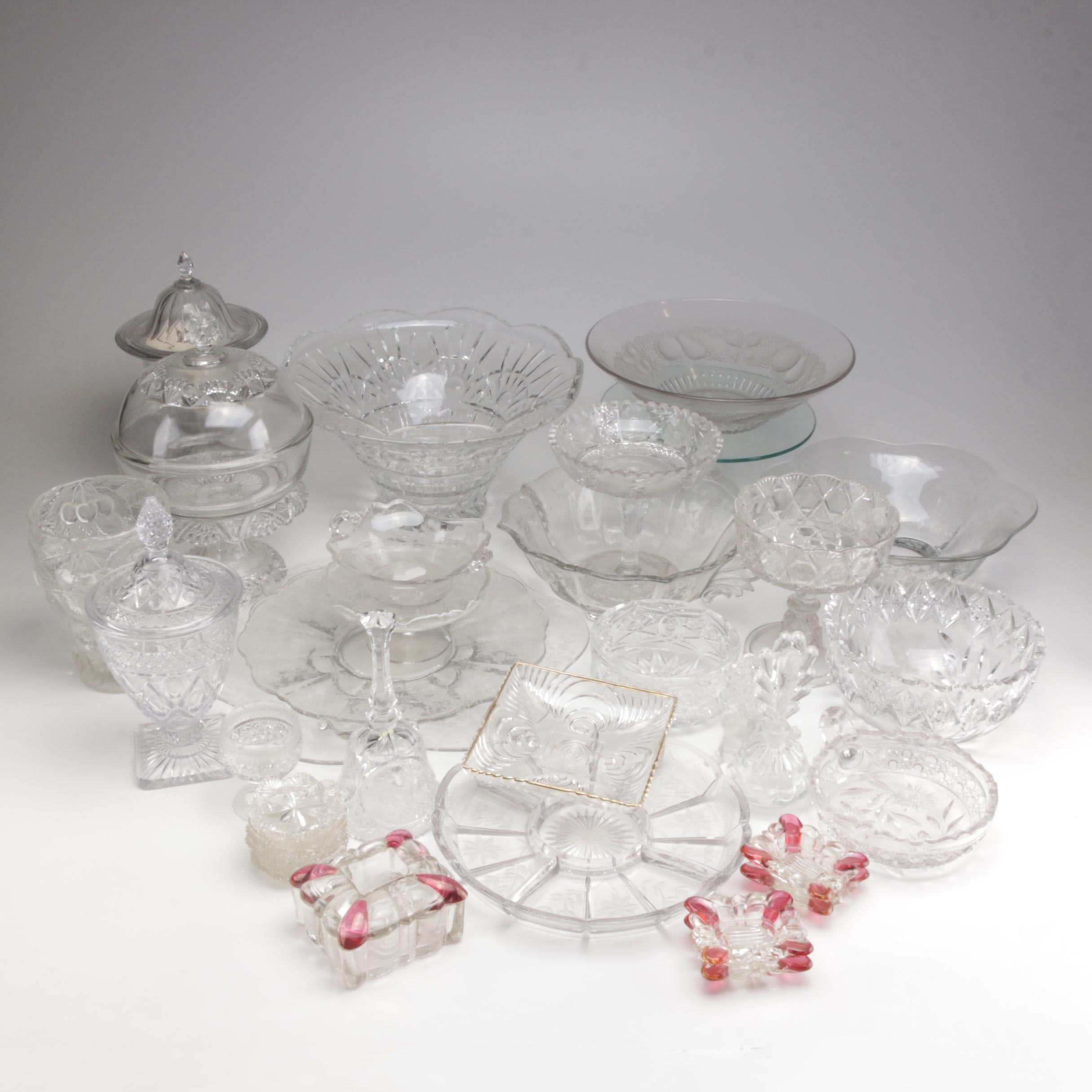 Clear Cut and Pressed Glass Serveware Collection