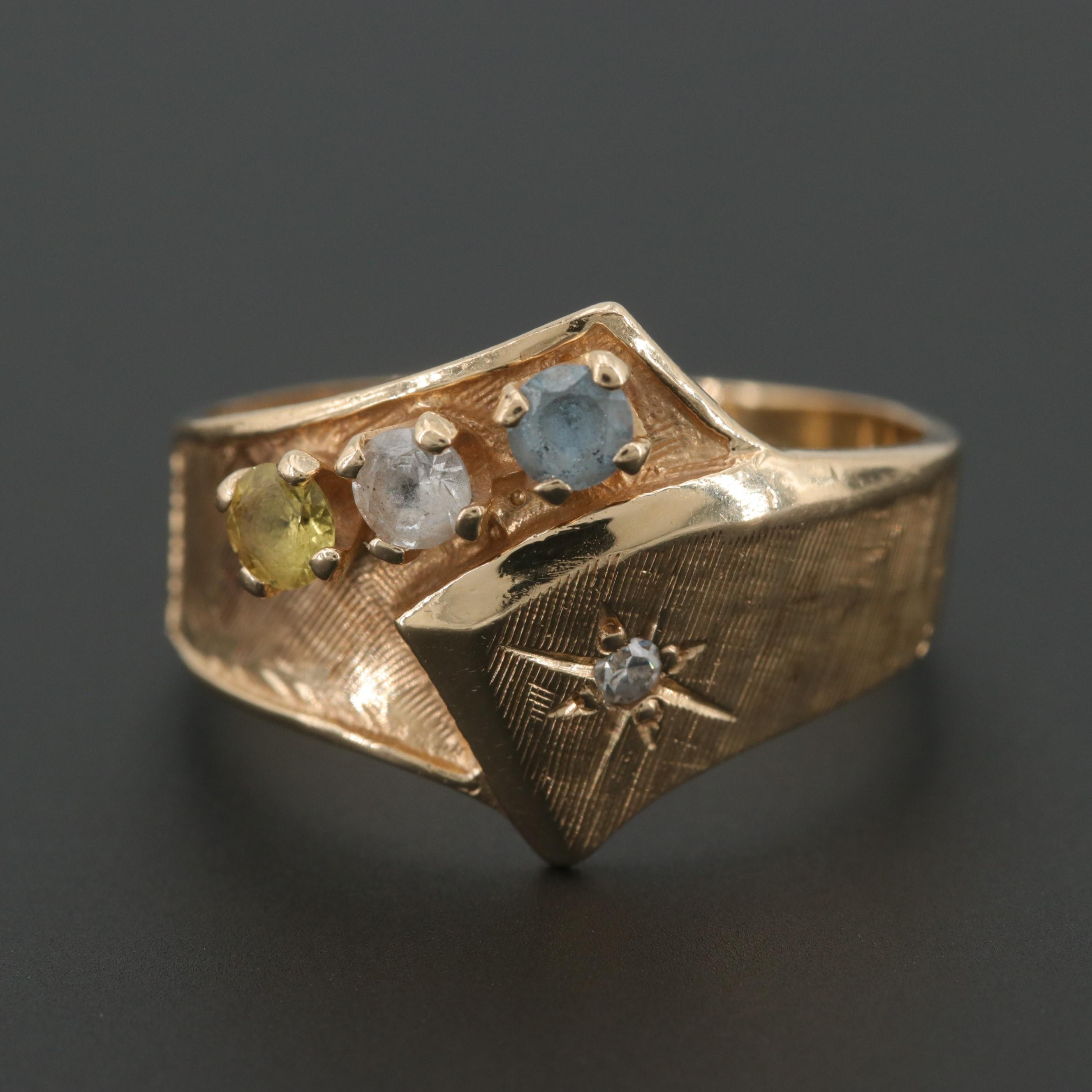 14K Yellow Gold Diamond, Synthetic Spinel and Synthetic Sapphire Ring