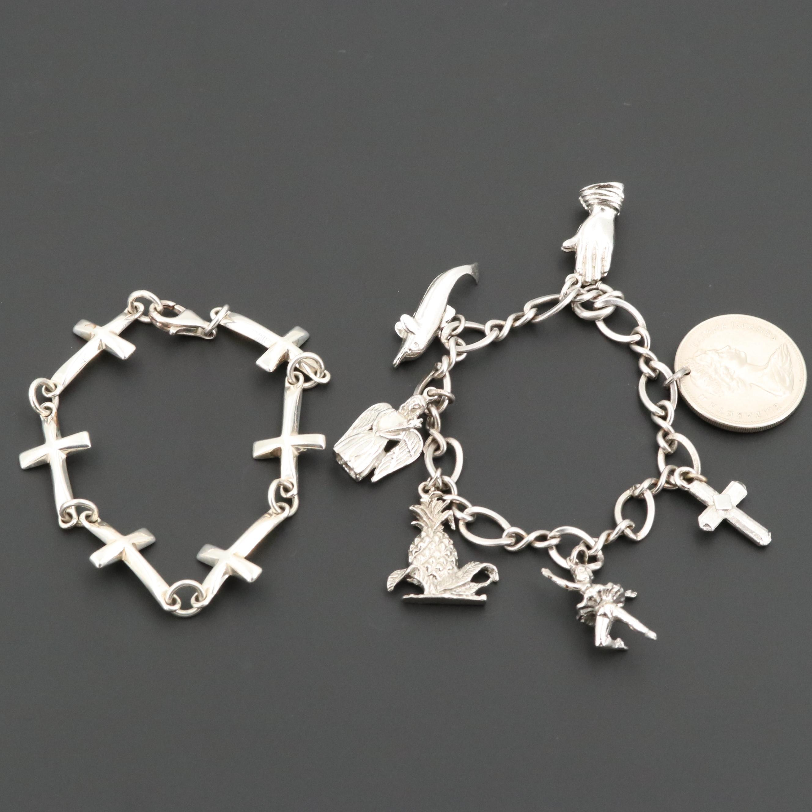 Sterling Cross and Charm Bracelets Including 1966 Bahama Islands 25 Cent Coin