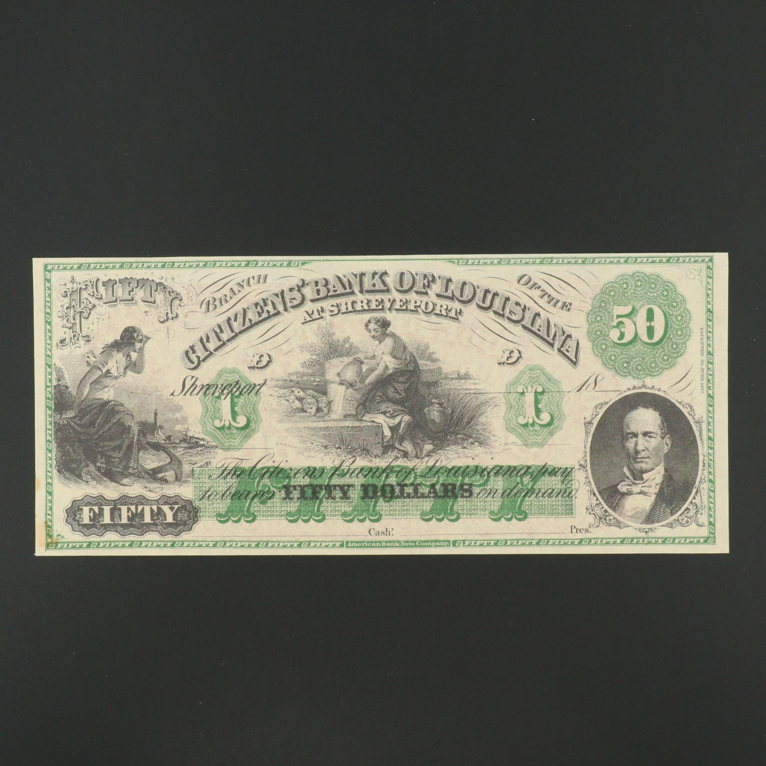 19th Century Obsolete $50 Bank Note from Citizen's Bank of Louisiana