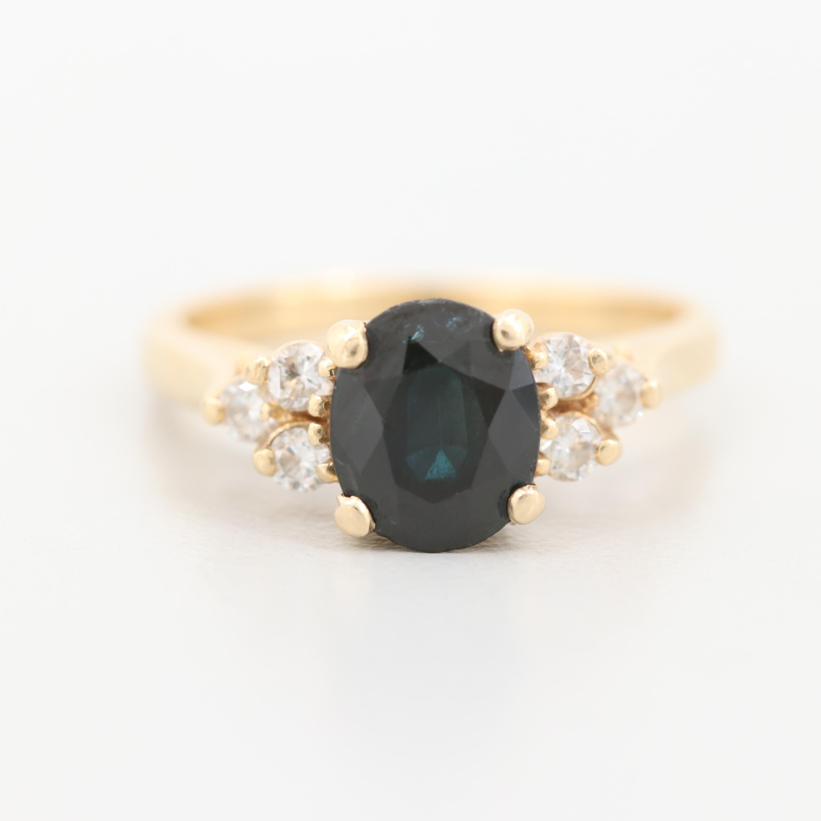 14K Yellow Gold 1.56 CT Sapphire and Diamond Ring
