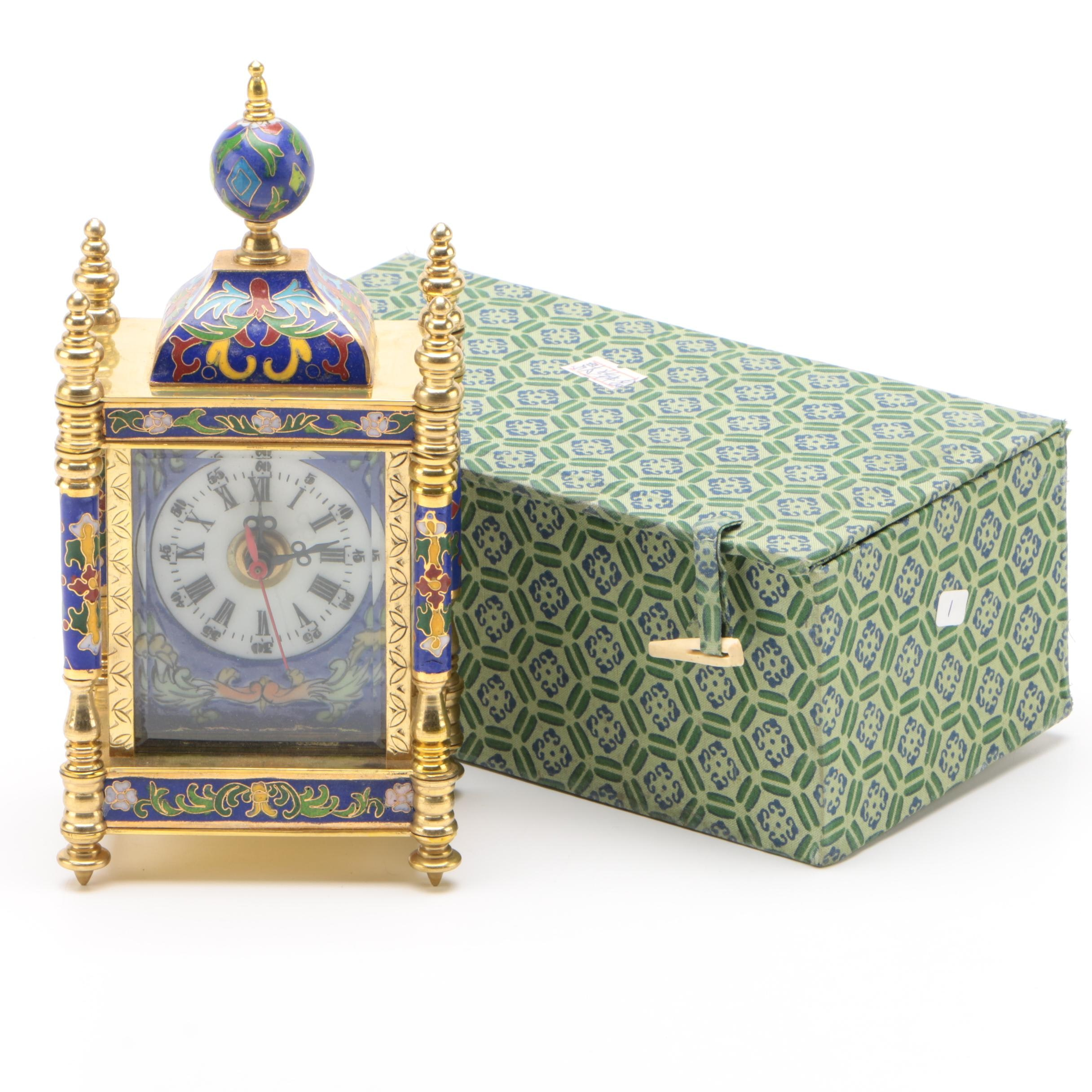Chinese Empire Style Cloisonné and Brass Mantle Clock