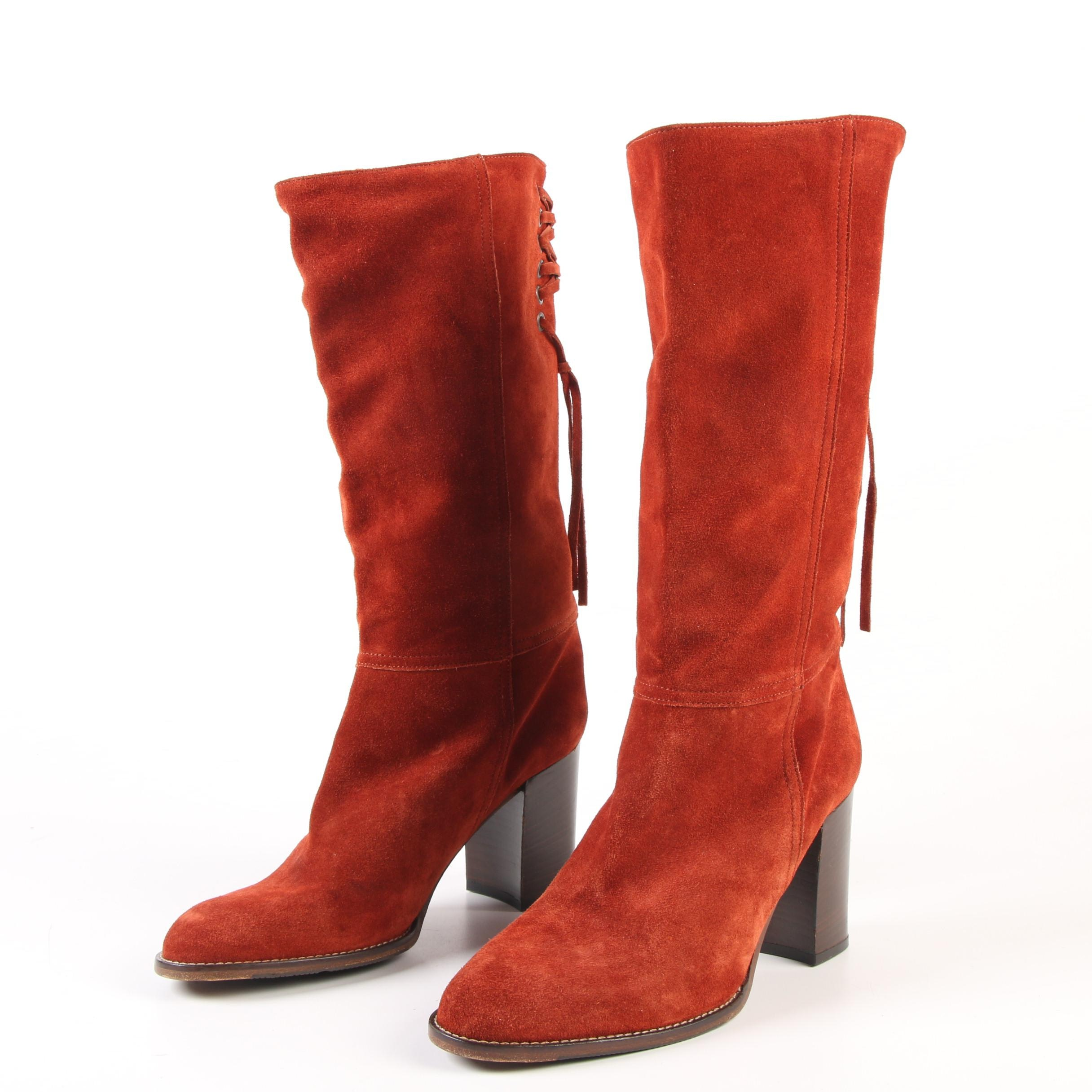 Coach Coty High Heel Boots in Rust Suede with Lacing Detail