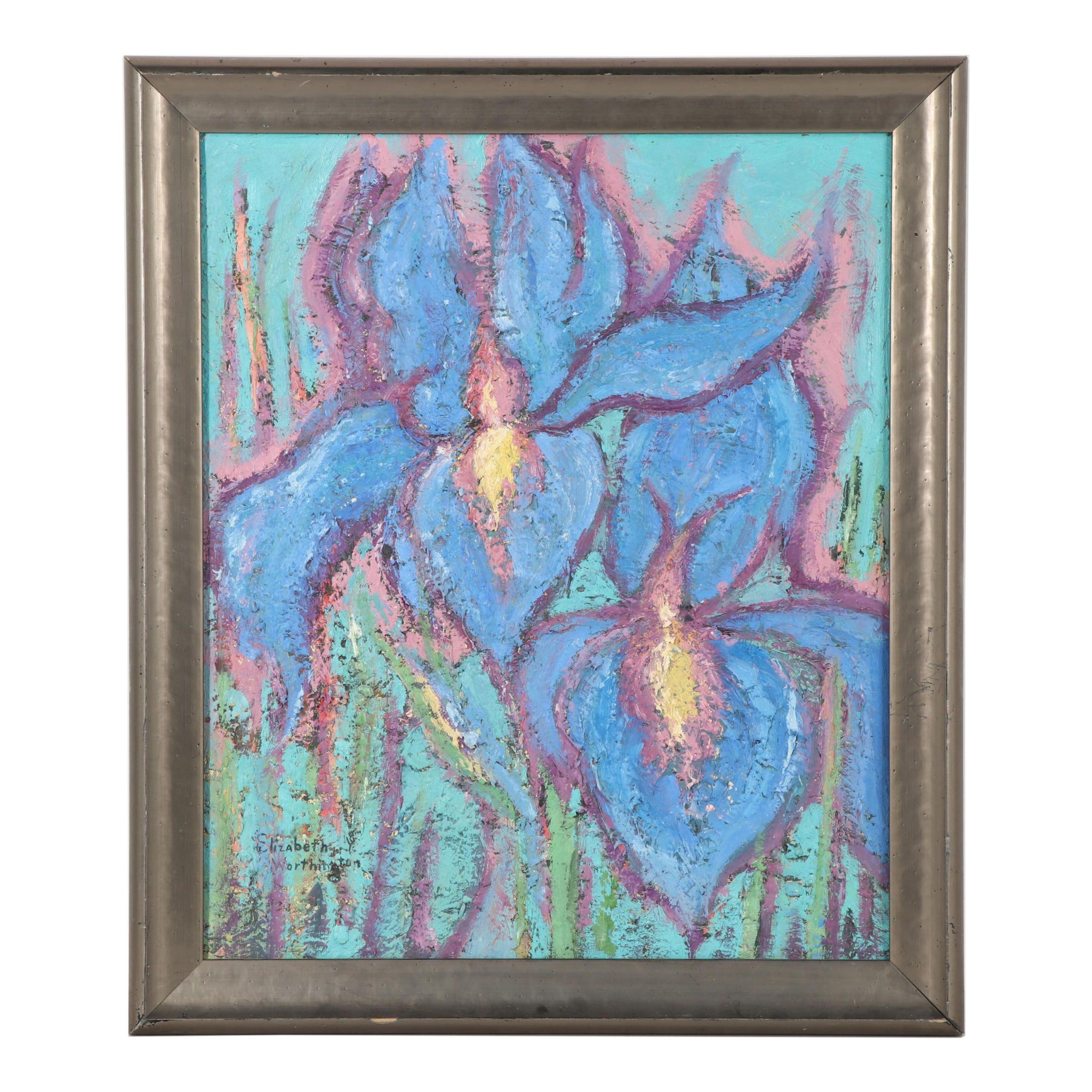 Elizabeth Worthington Oil Painting of Irises