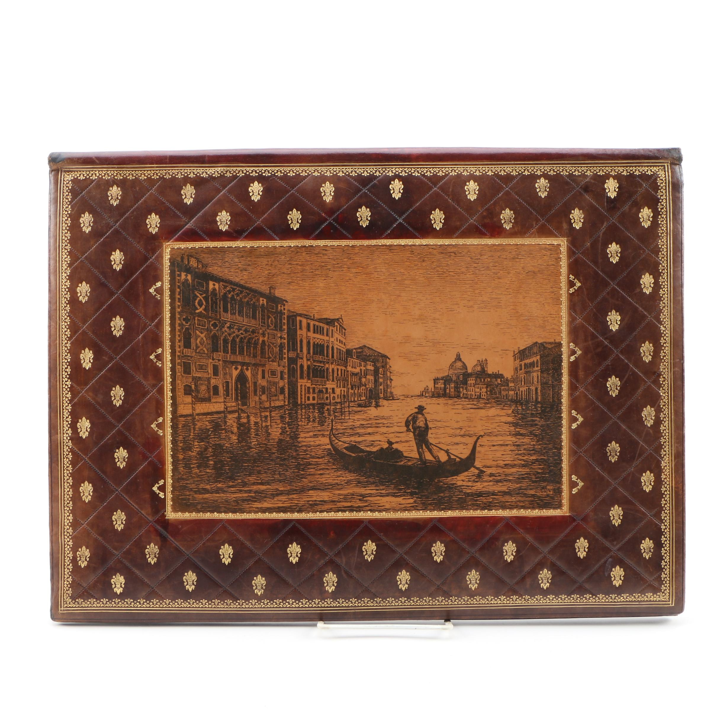 G. B. Florence Leather Blotter Folio with Canal Scene, Mid-Century